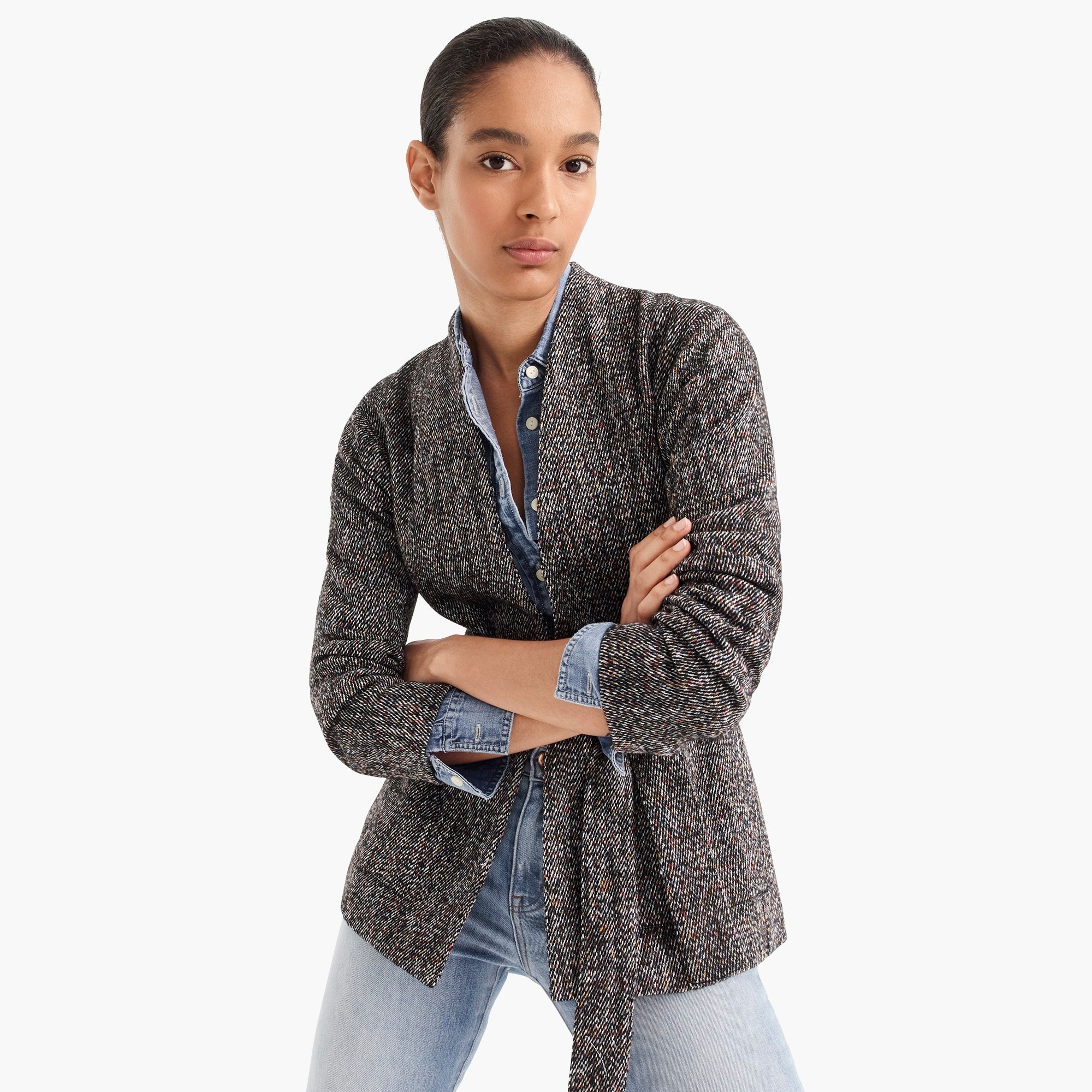 point sur wrap jacket in donegal tweed : women cape/poncho