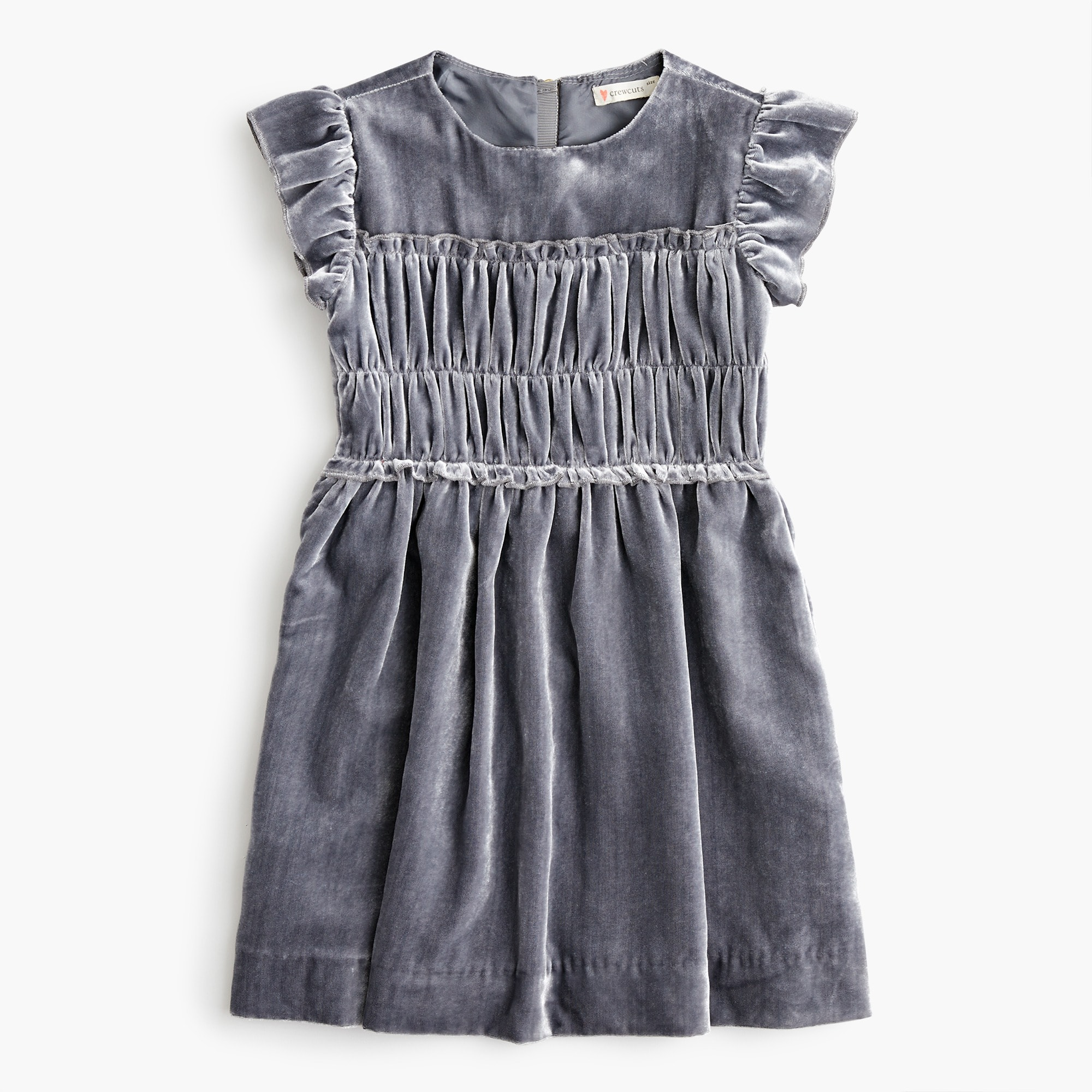 girls Girls' velvet dress with smocked waist