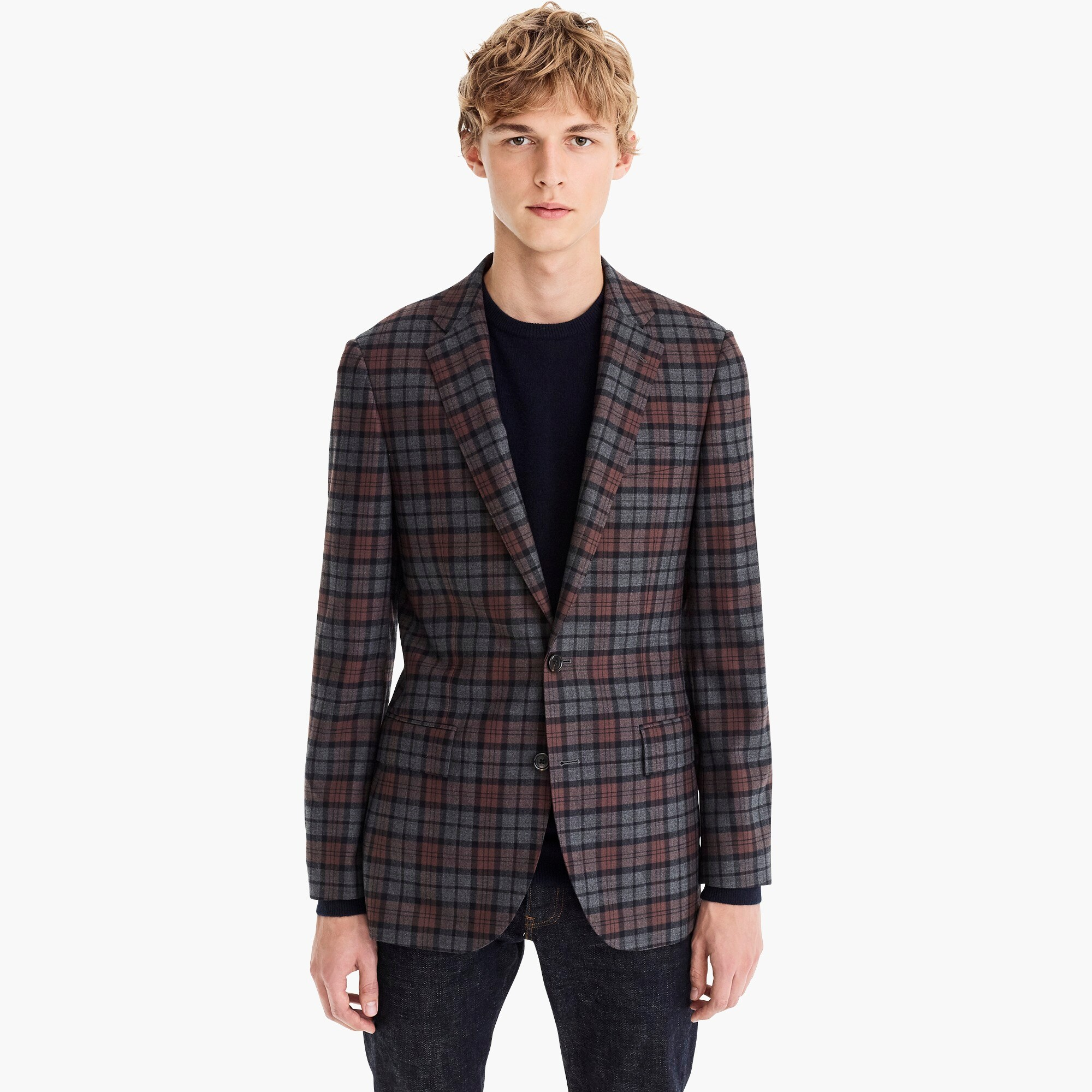 mens Ludlow Slim-fit suit jacket in plaid stretch flannel
