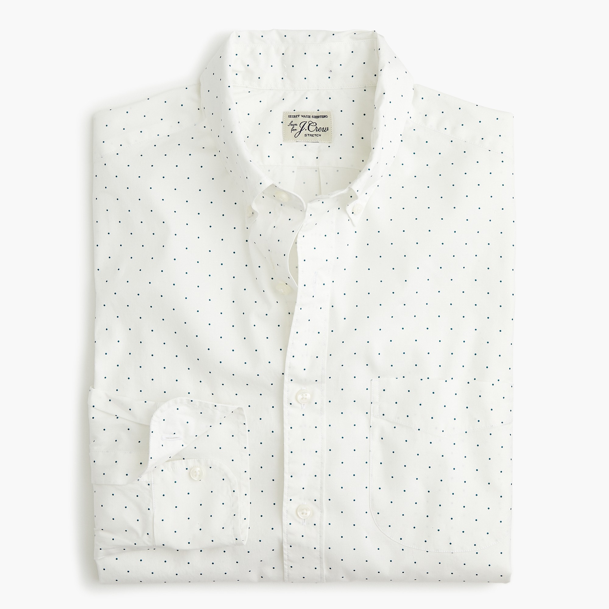 mens Slim stretch Secret Wash shirt in medium-dot print