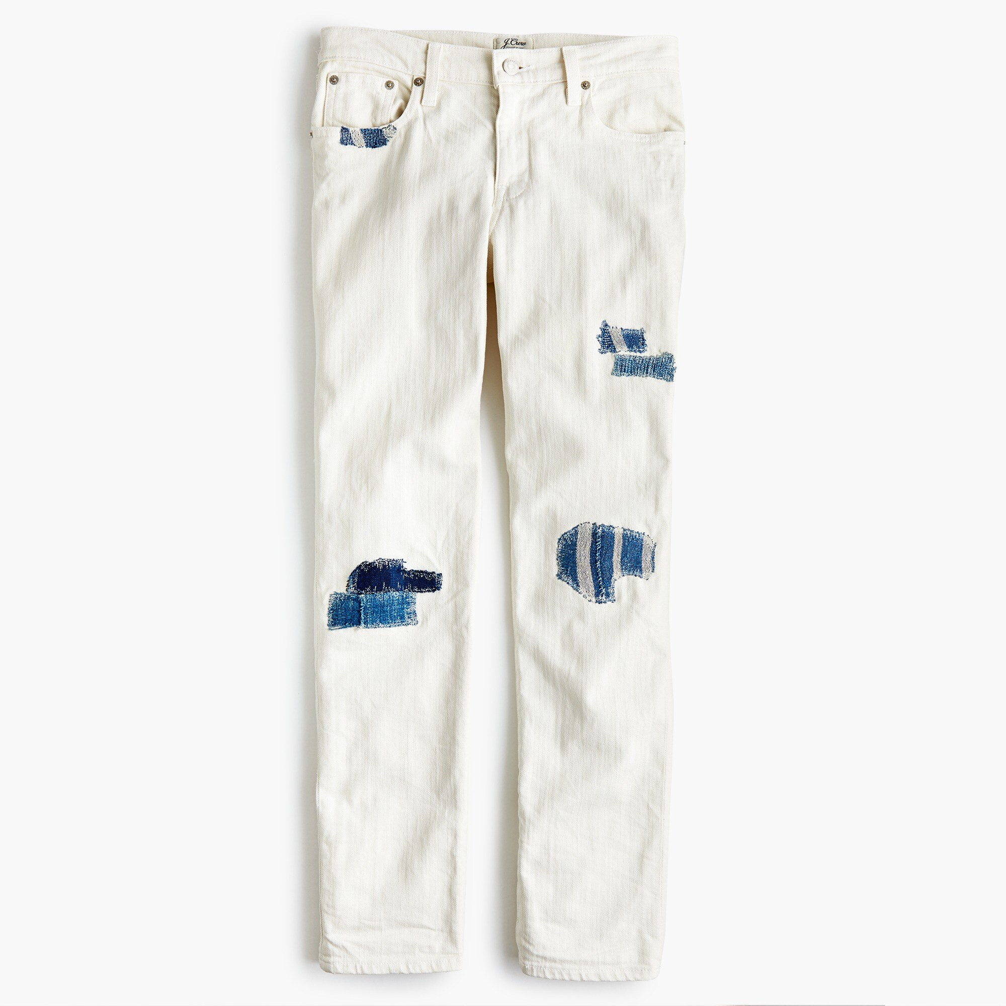 sean hornbeak for j.crew slim boyfriend jean with indigo patches in white : women boyfriend