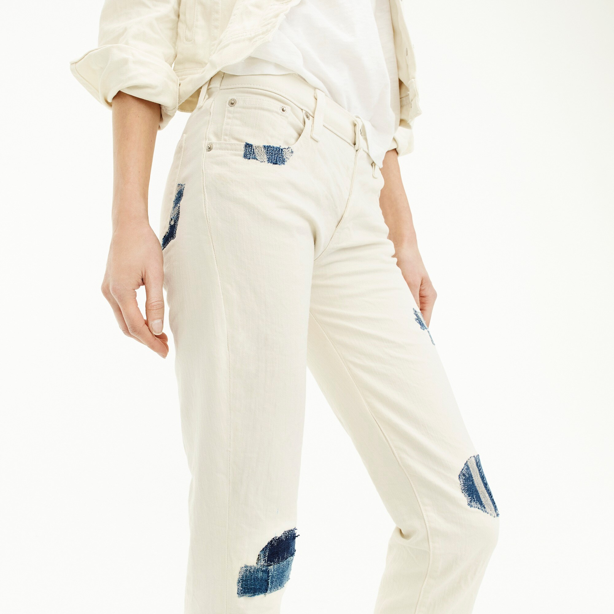 Image 3 for Sean Hornbeak for J.Crew slim boyfriend jean with indigo patches in white