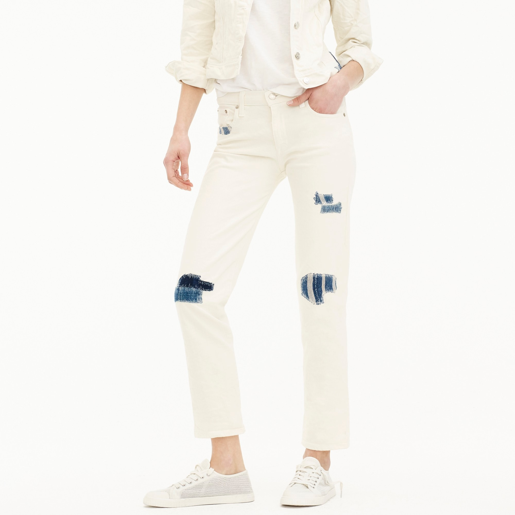 Sean Hornbeak for J.Crew slim boyfriend jean with indigo patches in white