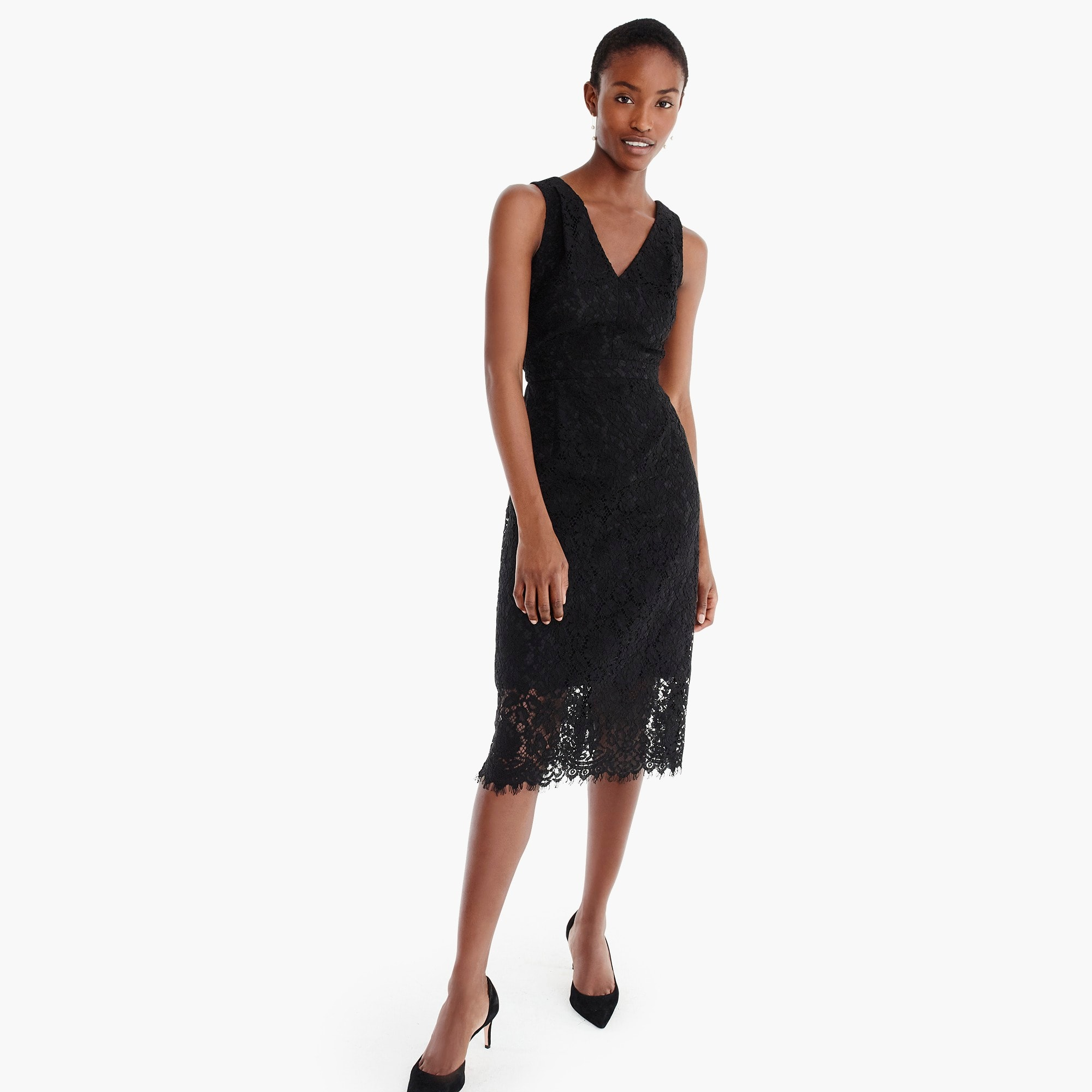 womens V-neck lace sheath dress
