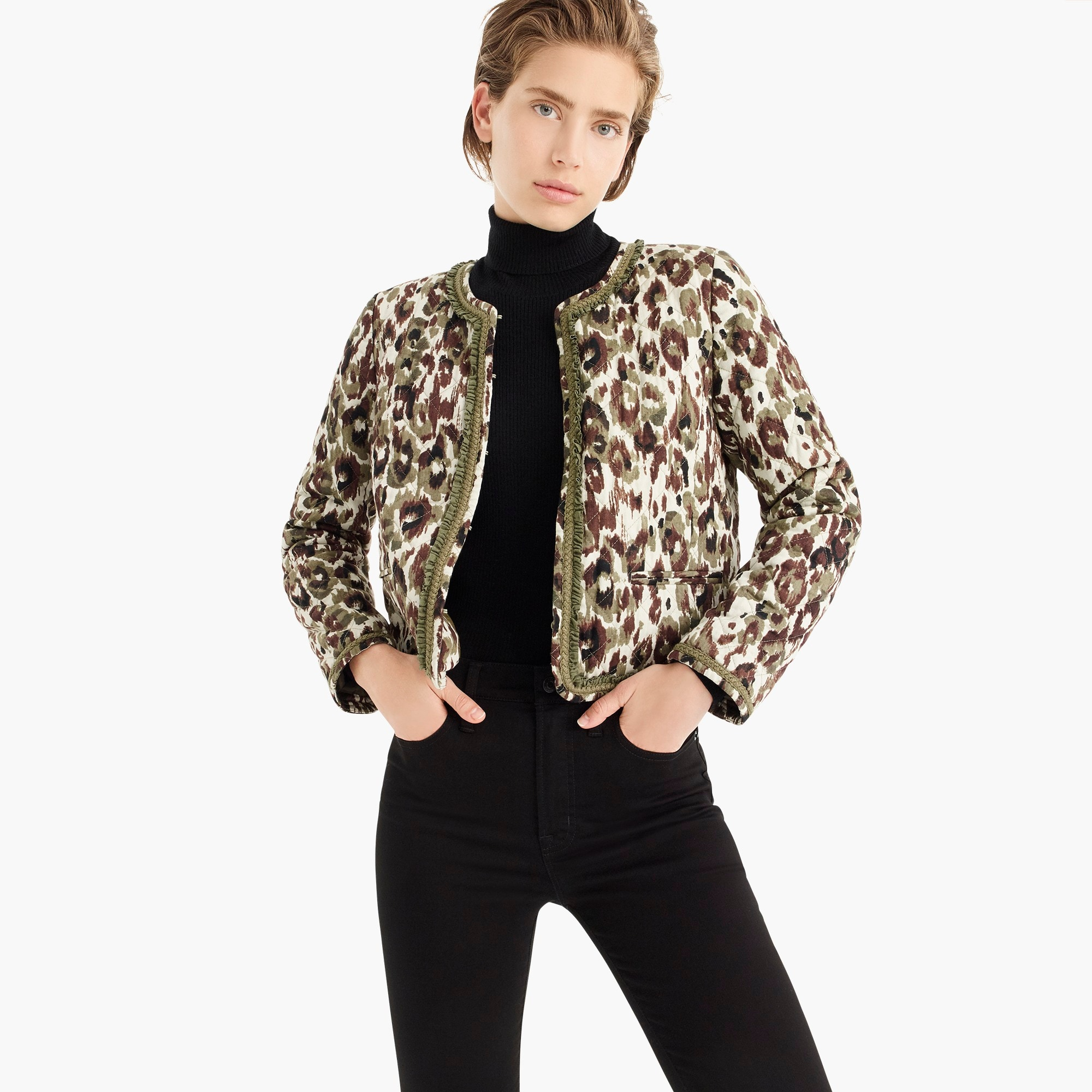 womens Quilted lady jacket in autumn cheetah