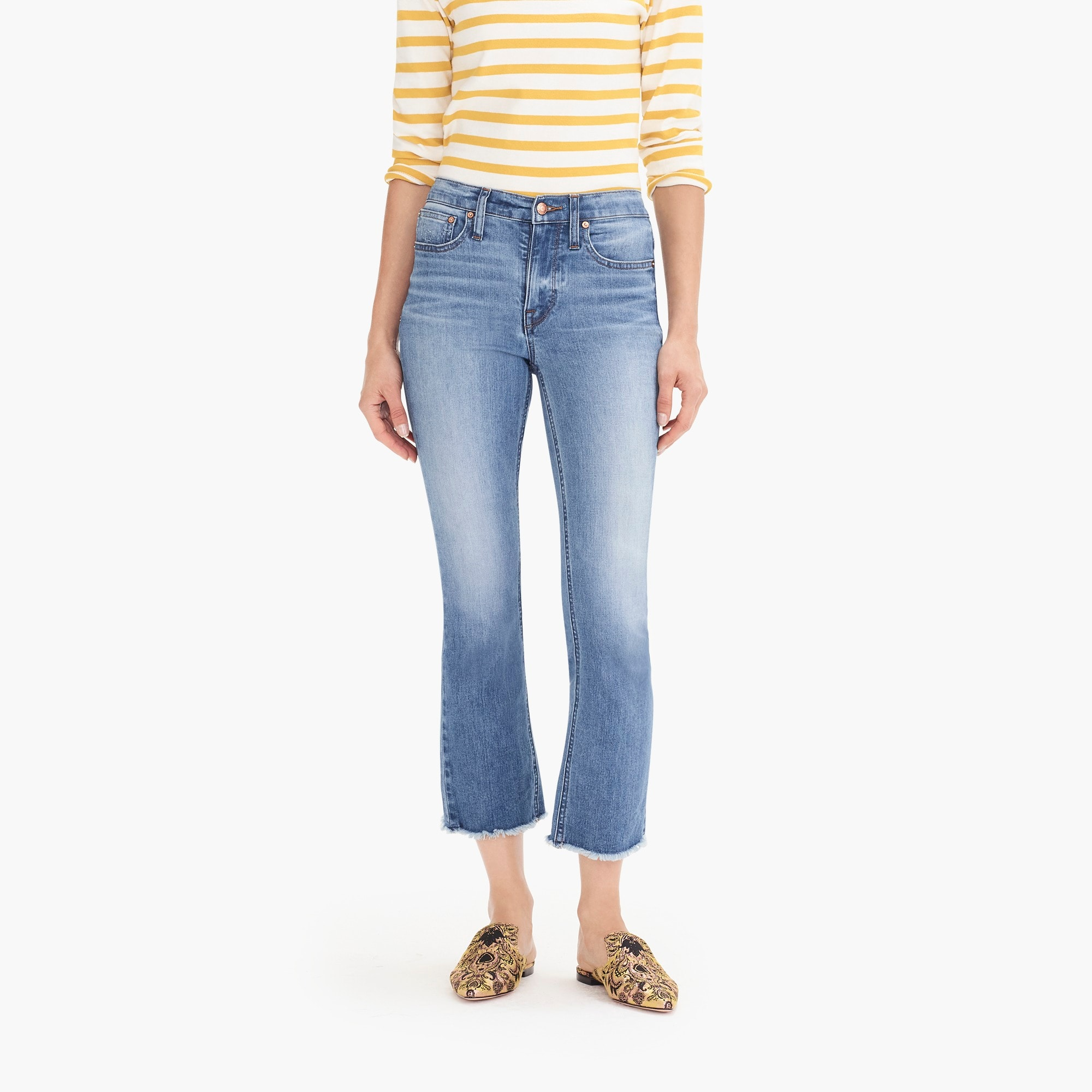 womens Tall Demi-boot crop eco jean with cut hems