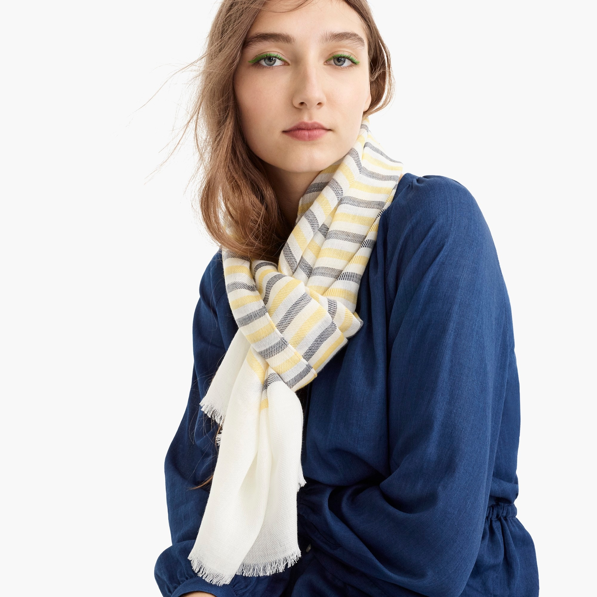 womens Lightweight wool scarf in stripe