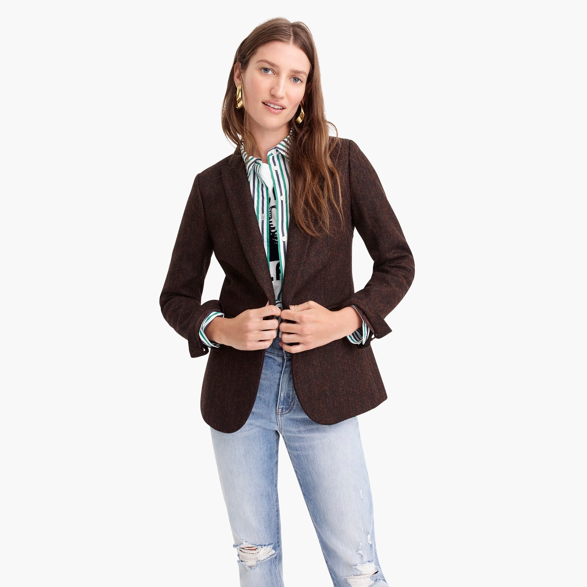 womens Parke blazer in English herringbone wool