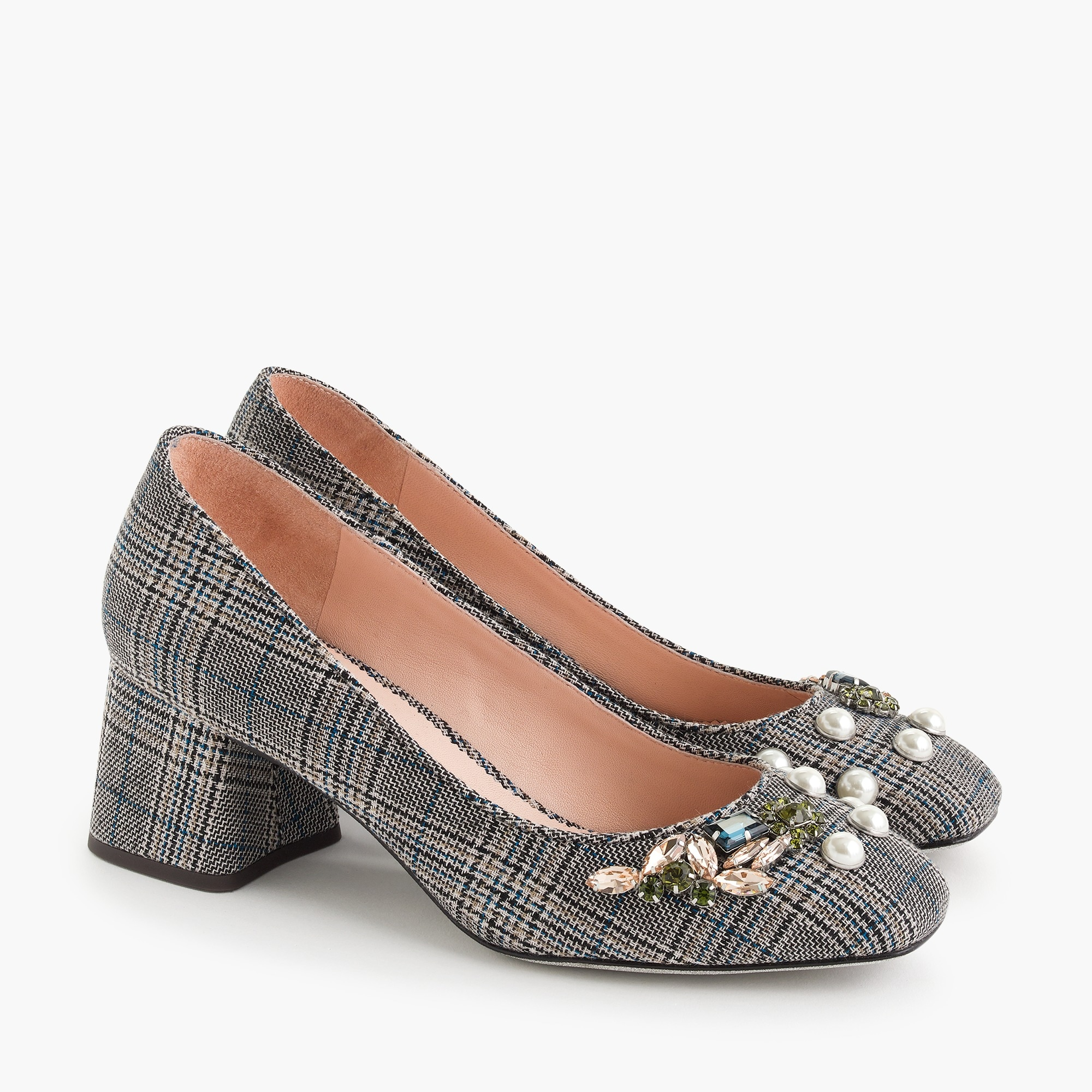 Image 3 for Block-heel pumps in embellished plaid