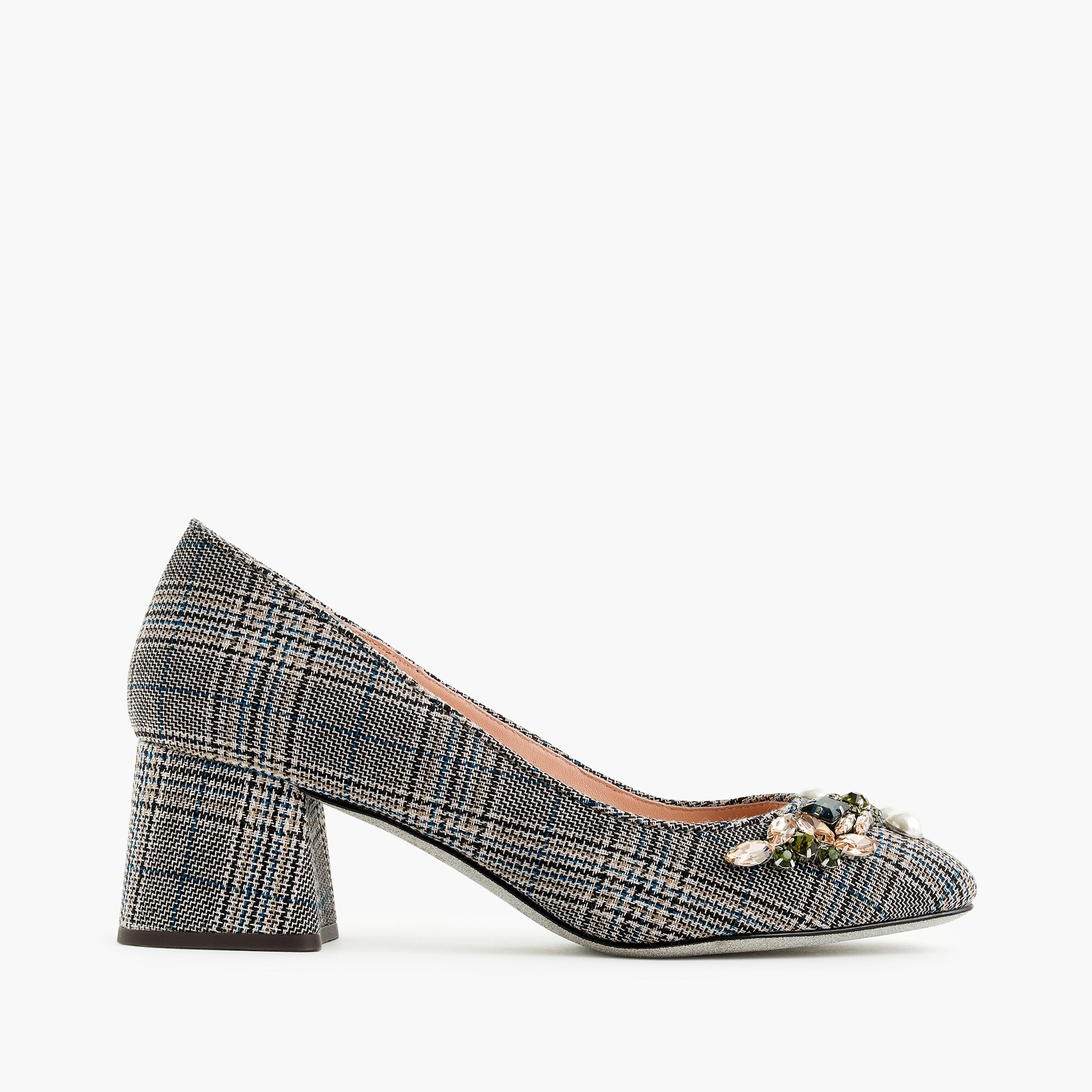 Image 2 for Block-heel pumps in embellished plaid