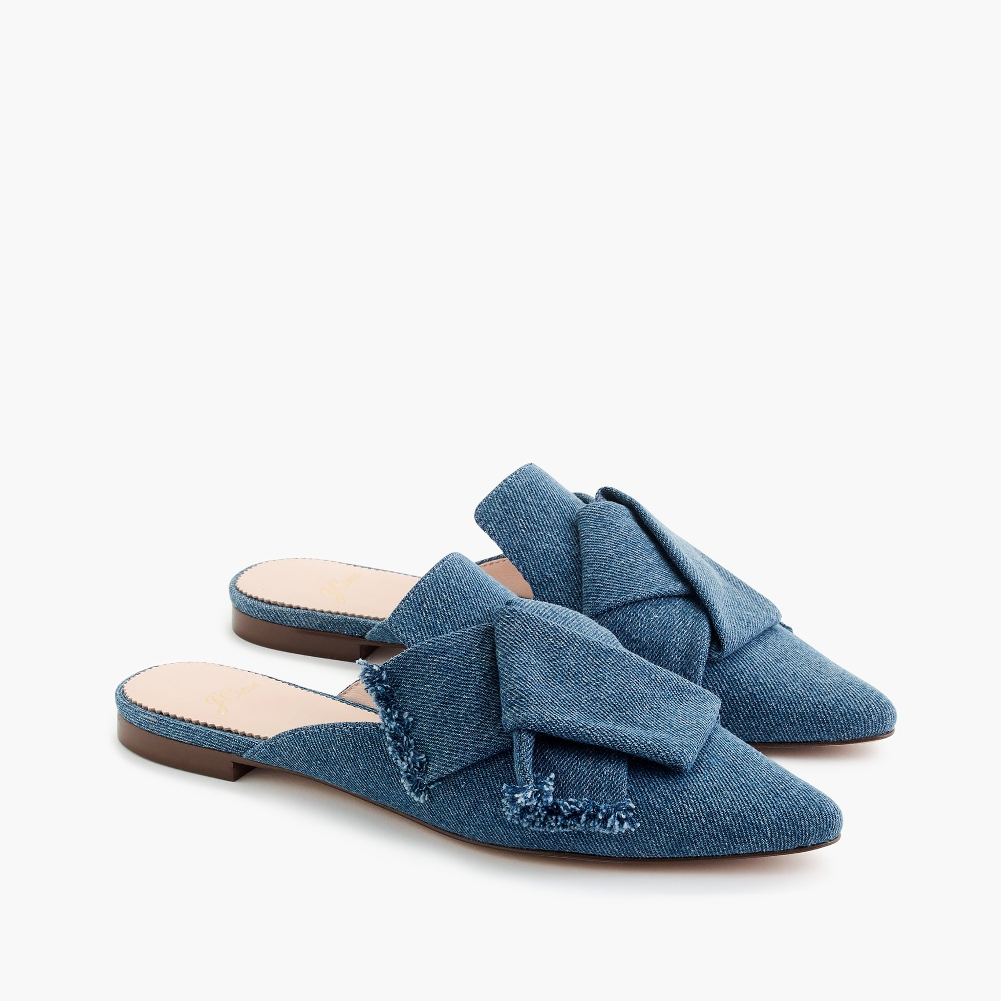 womens Pointed-toe slides in denim