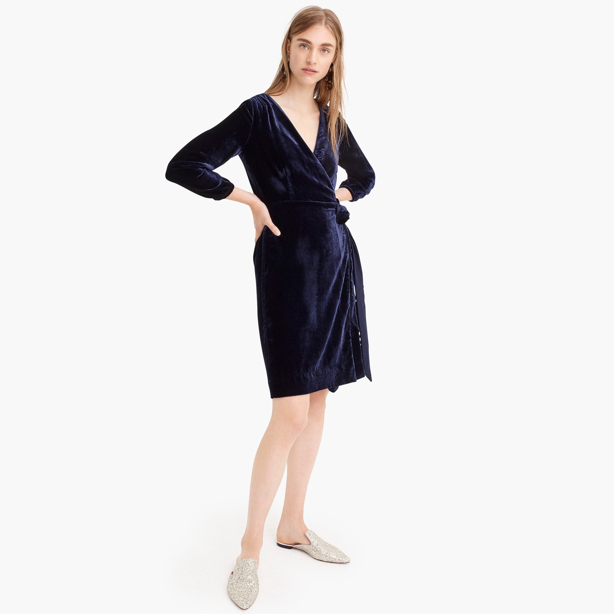 Wrap dress in drapey velvet