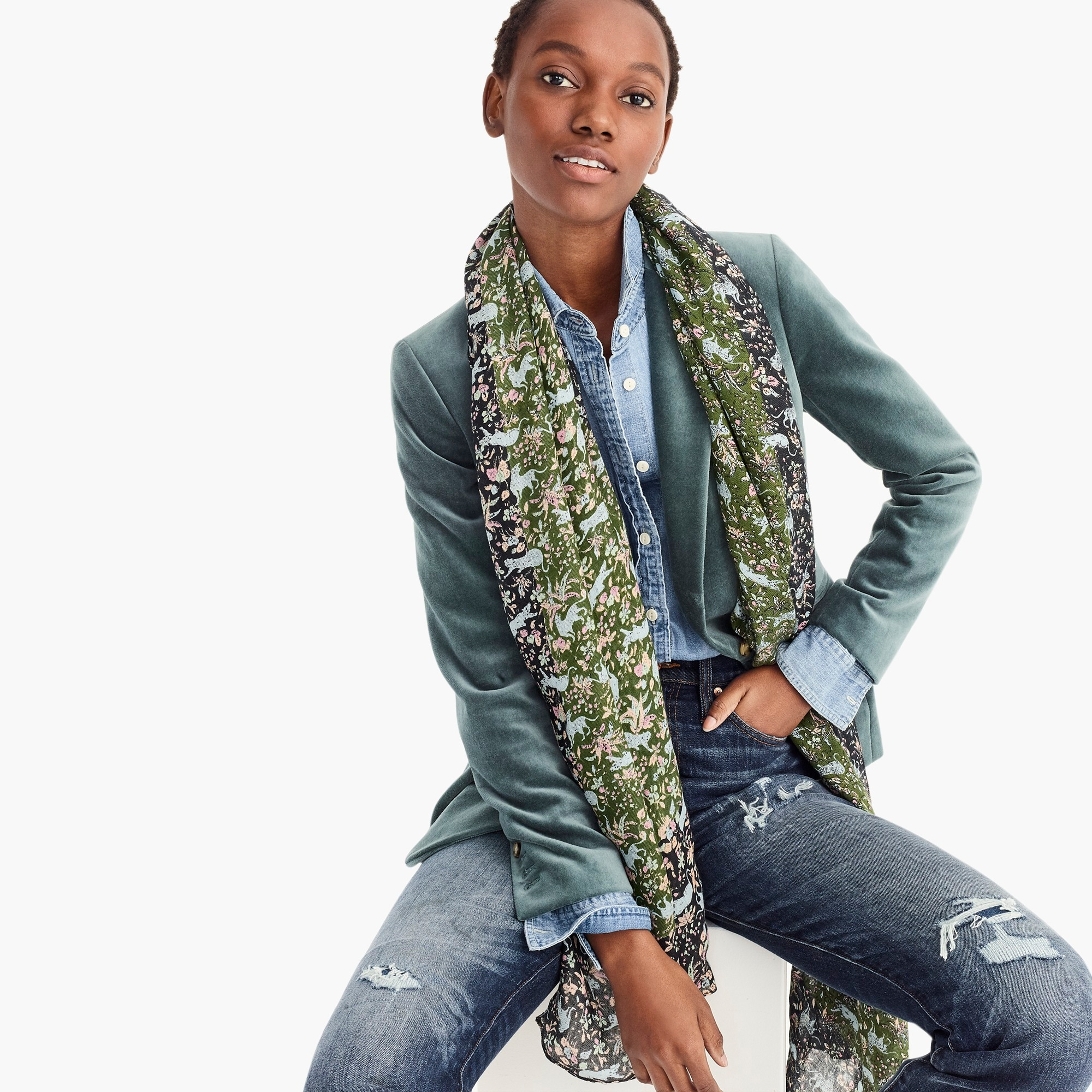 womens Printed mid-season scarf