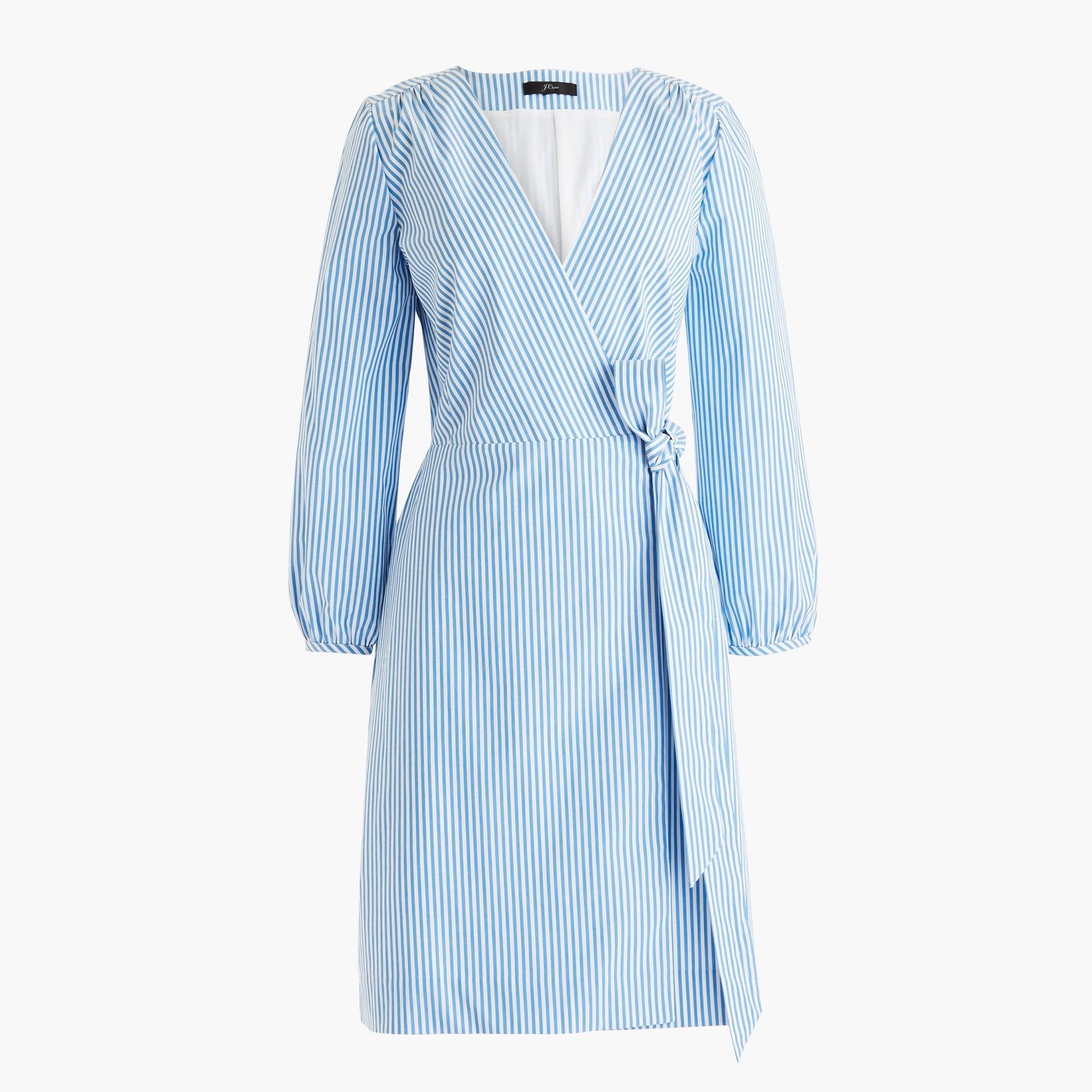 Image 6 for Wrap dress in striped cotton poplin