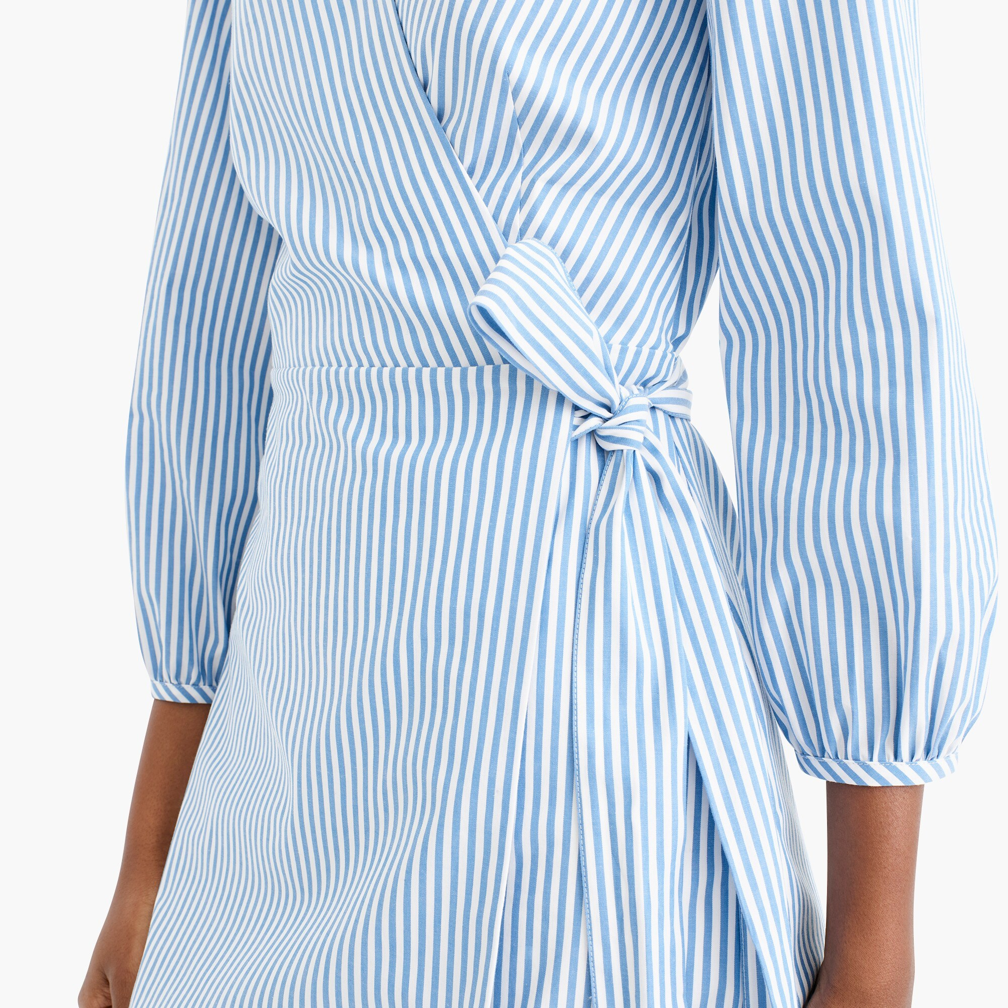 Image 2 for Wrap dress in striped cotton poplin