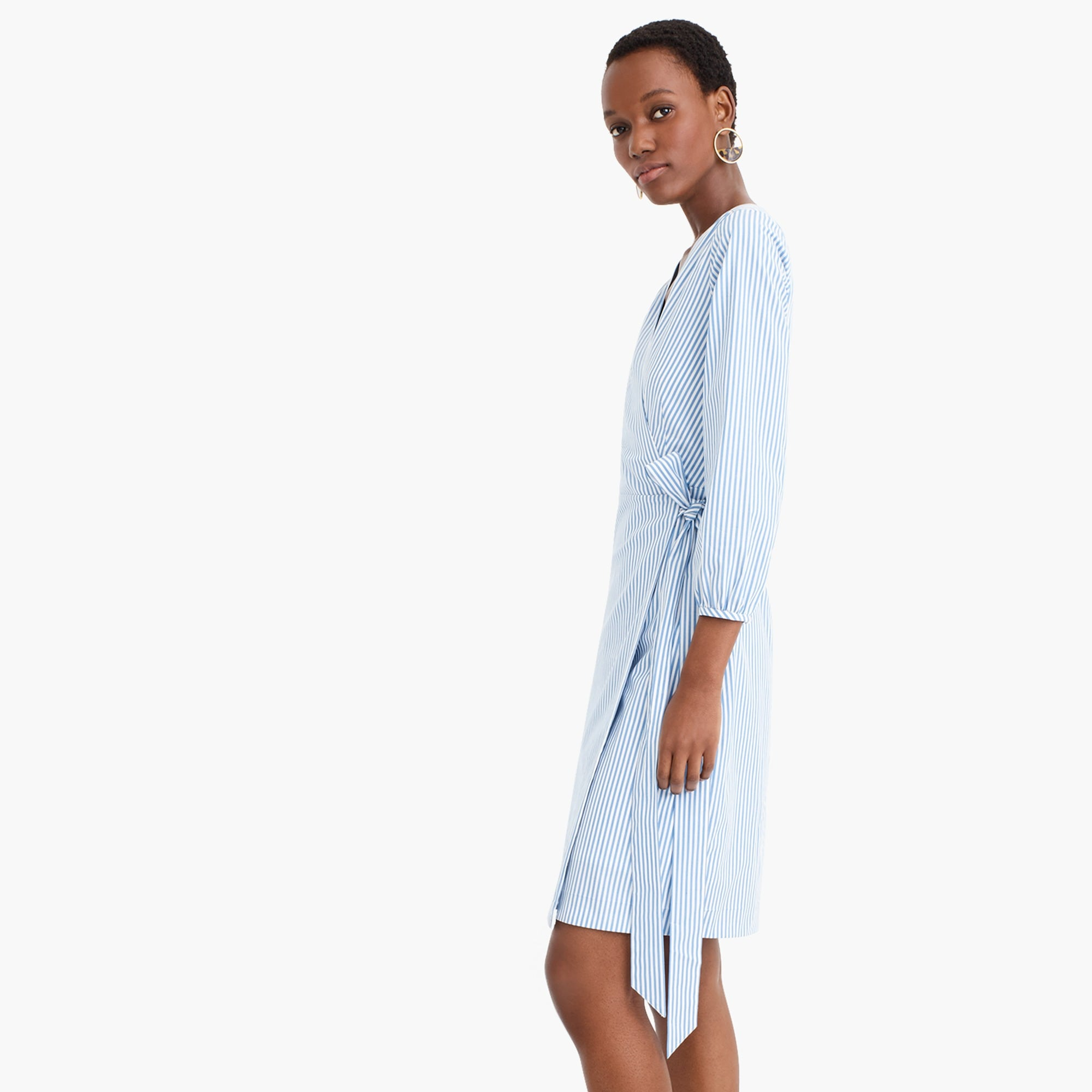Wrap dress in striped cotton poplin