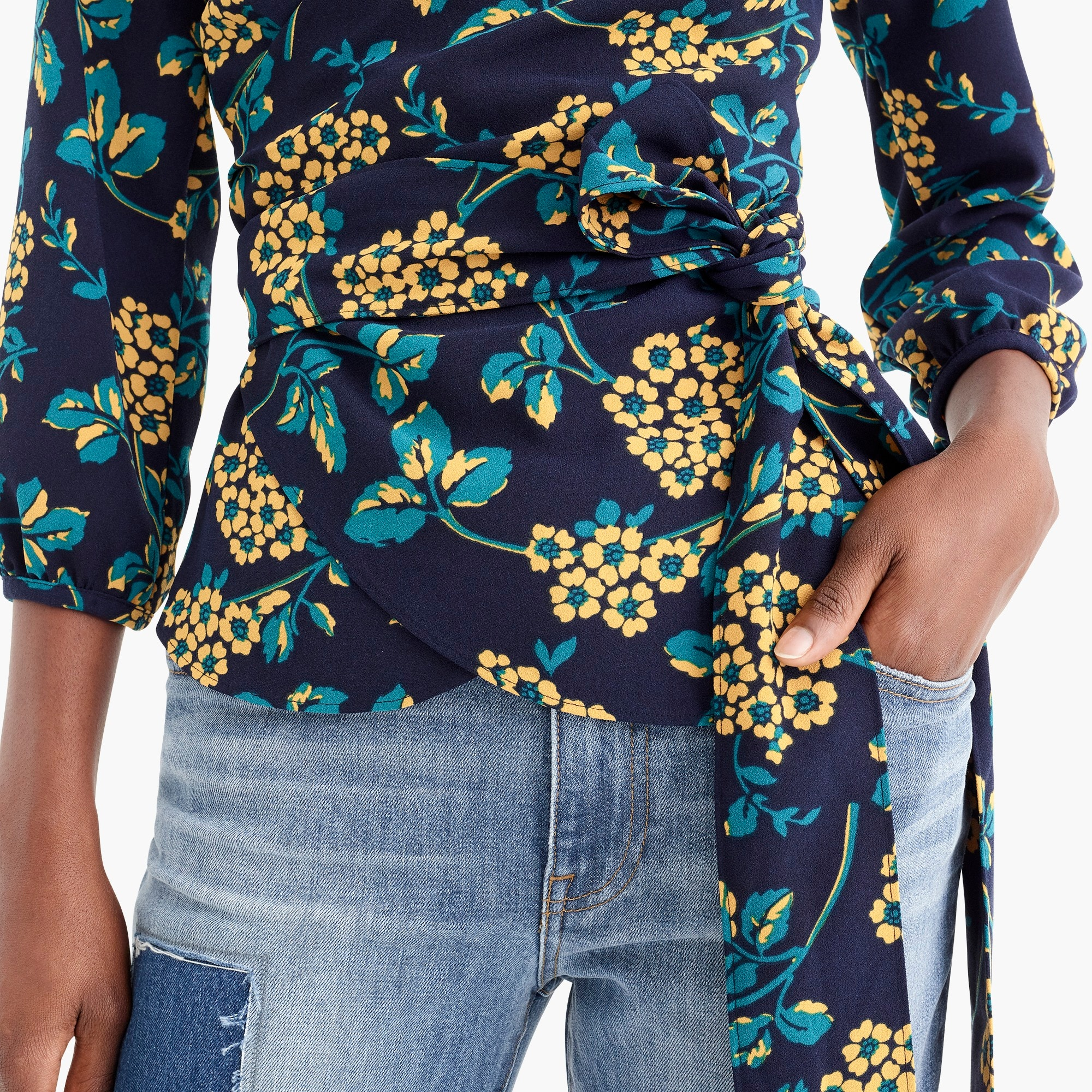 Image 2 for Petite drapey crepe wrap top in floral
