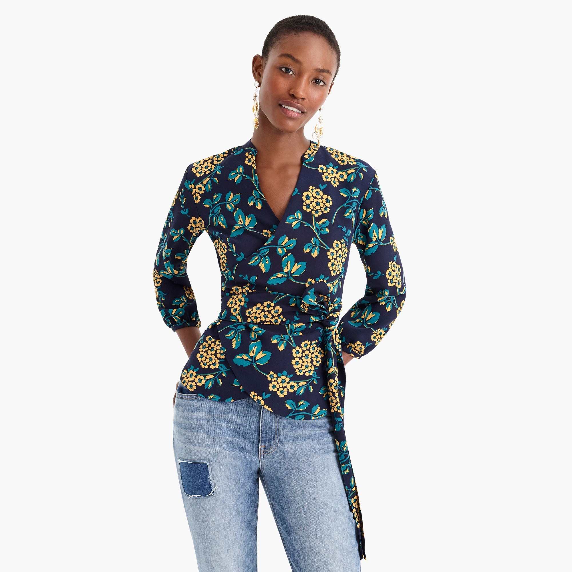 Image 3 for Petite drapey crepe wrap top in floral