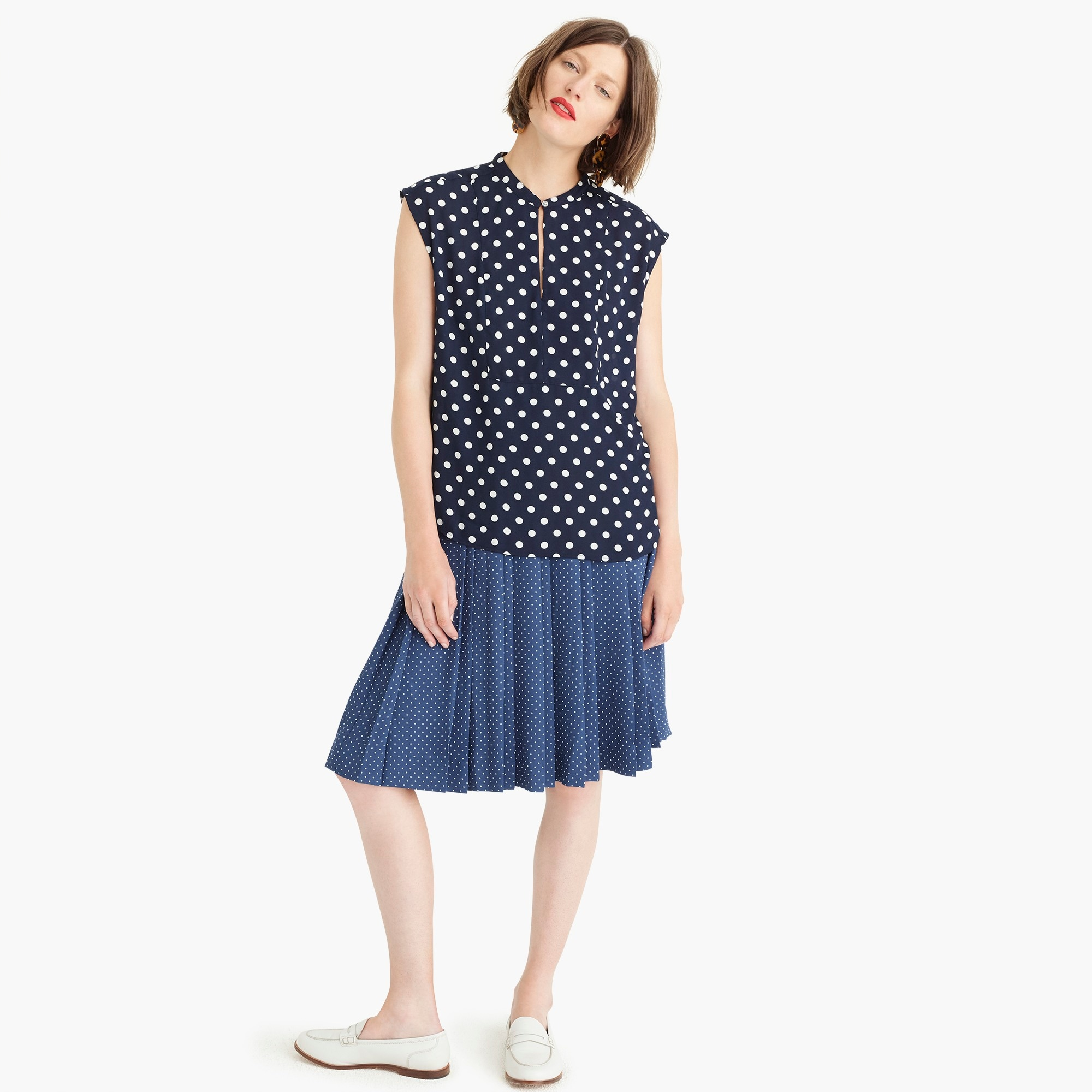 Image 3 for Petite drapey cap-sleeve top in polka dot