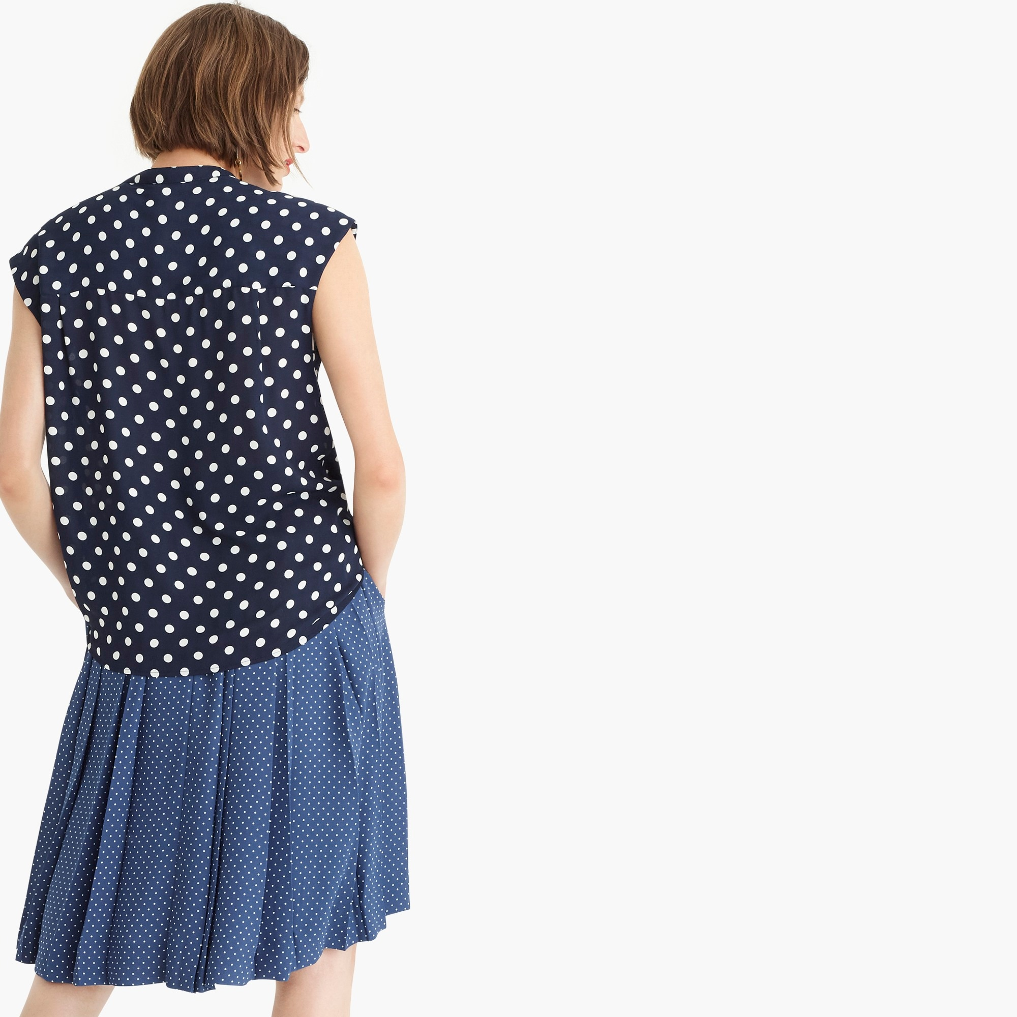Petite drapey cap-sleeve top in polka dot
