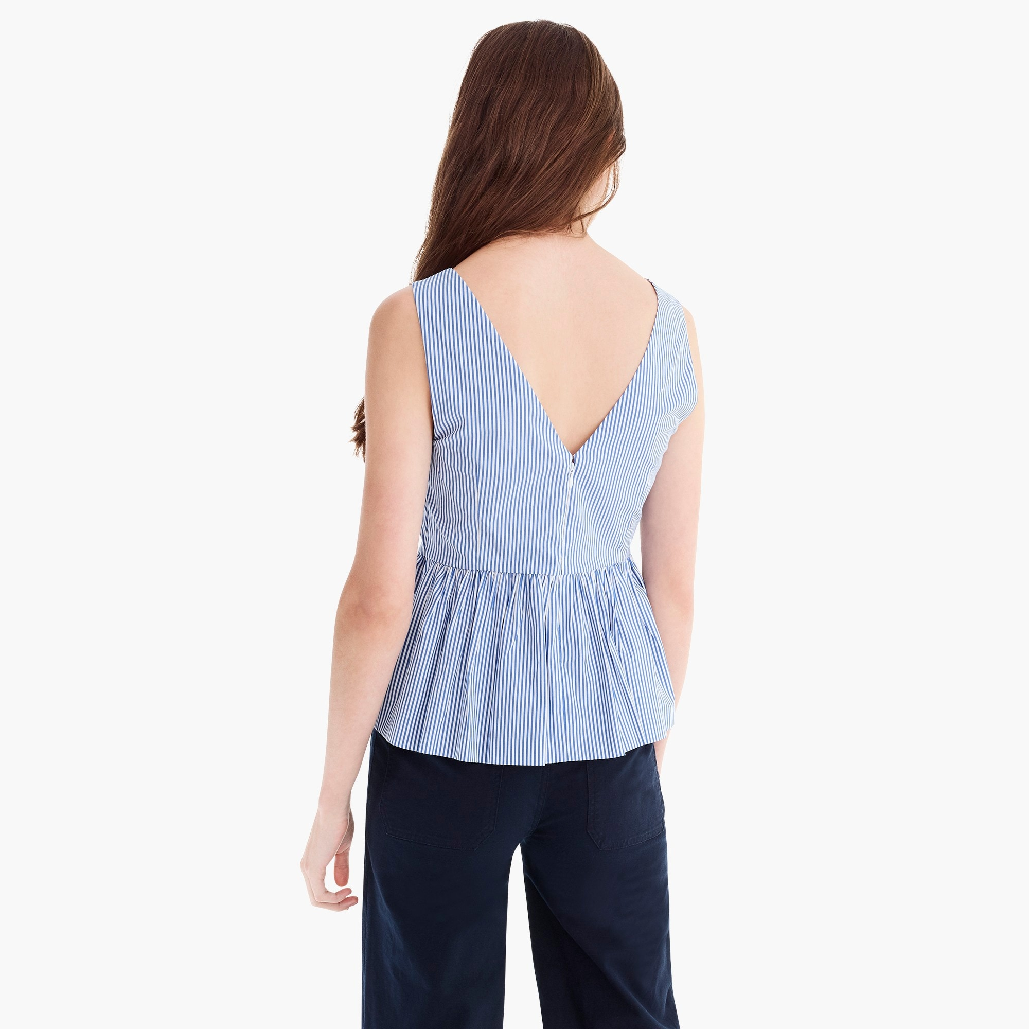 Striped sleeveless peplum top in stretch cotton poplin