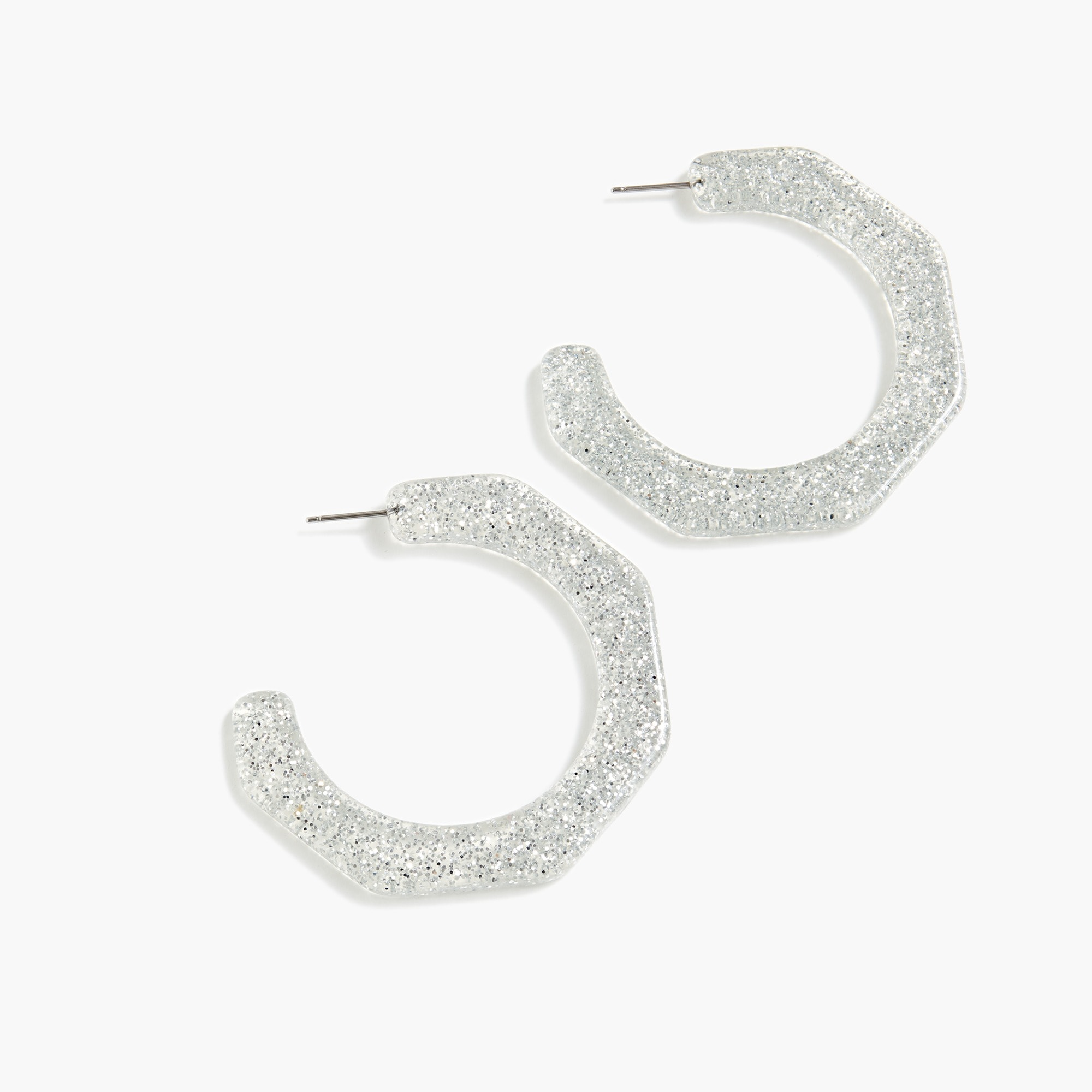 Resin angled-hoop earrings women new arrivals c