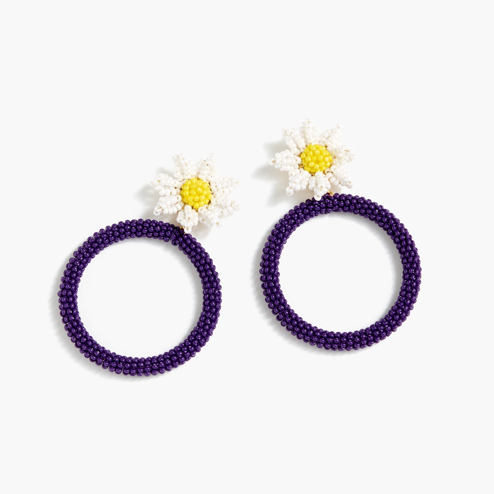 womens Alison Lou X J.Crew beaded daisy drop-hoop earrings