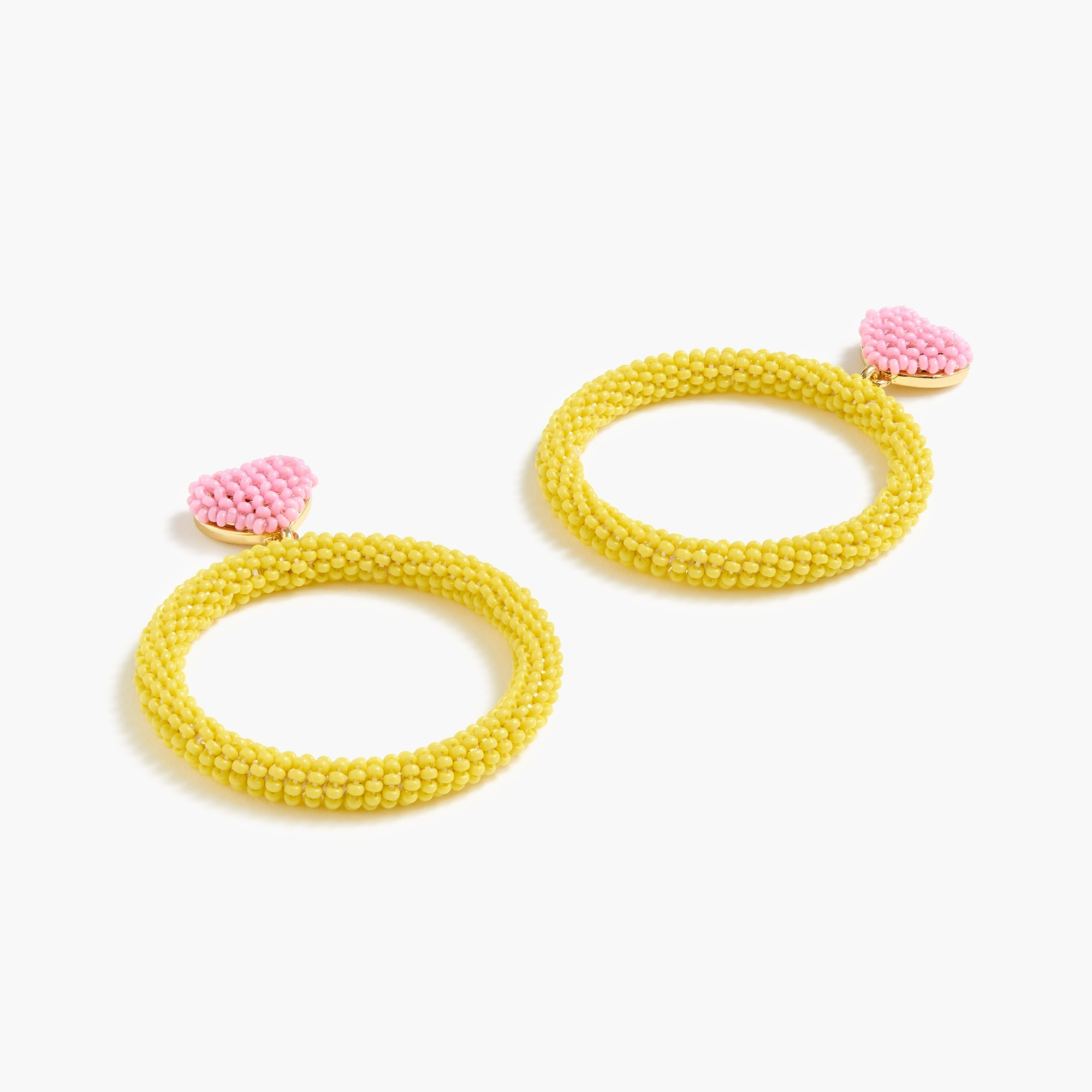 womens Alison Lou X J.Crew beaded heart drop-hoop earrings