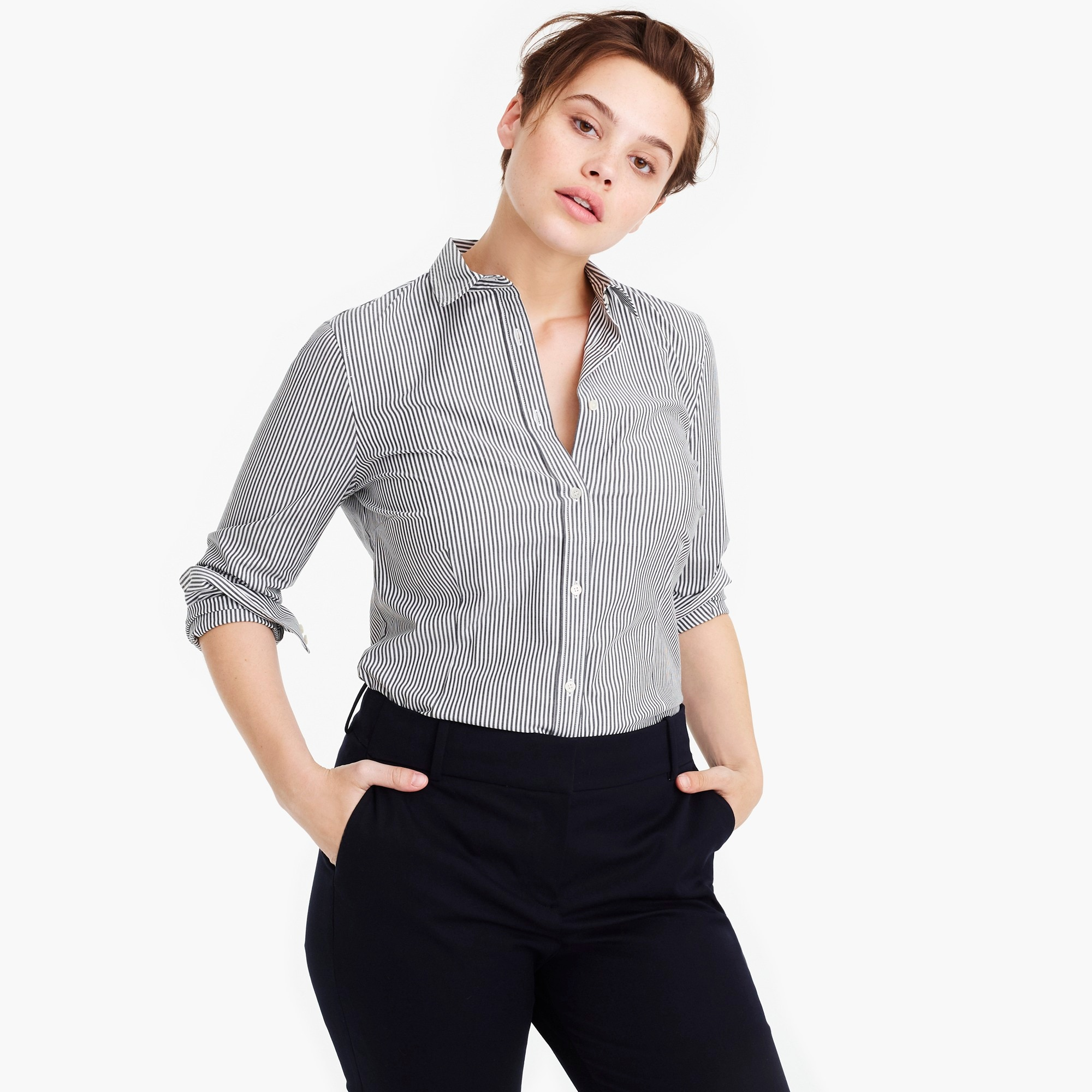 Petite curvy slim stretch perfect shirt in stripe
