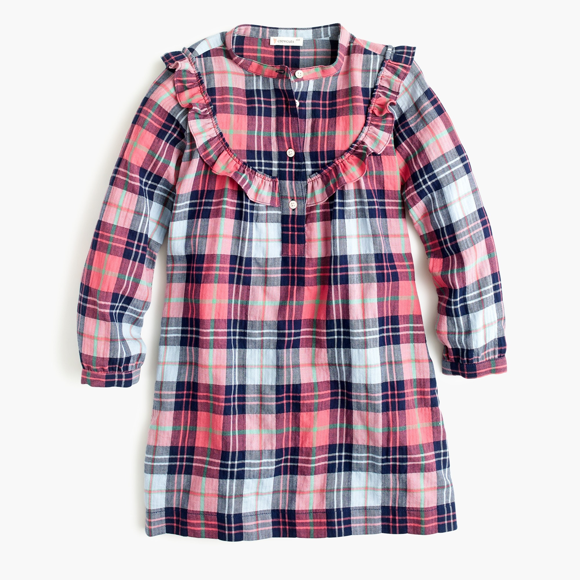 girls Girls' ruffle-trimmed shirtdress in plaid