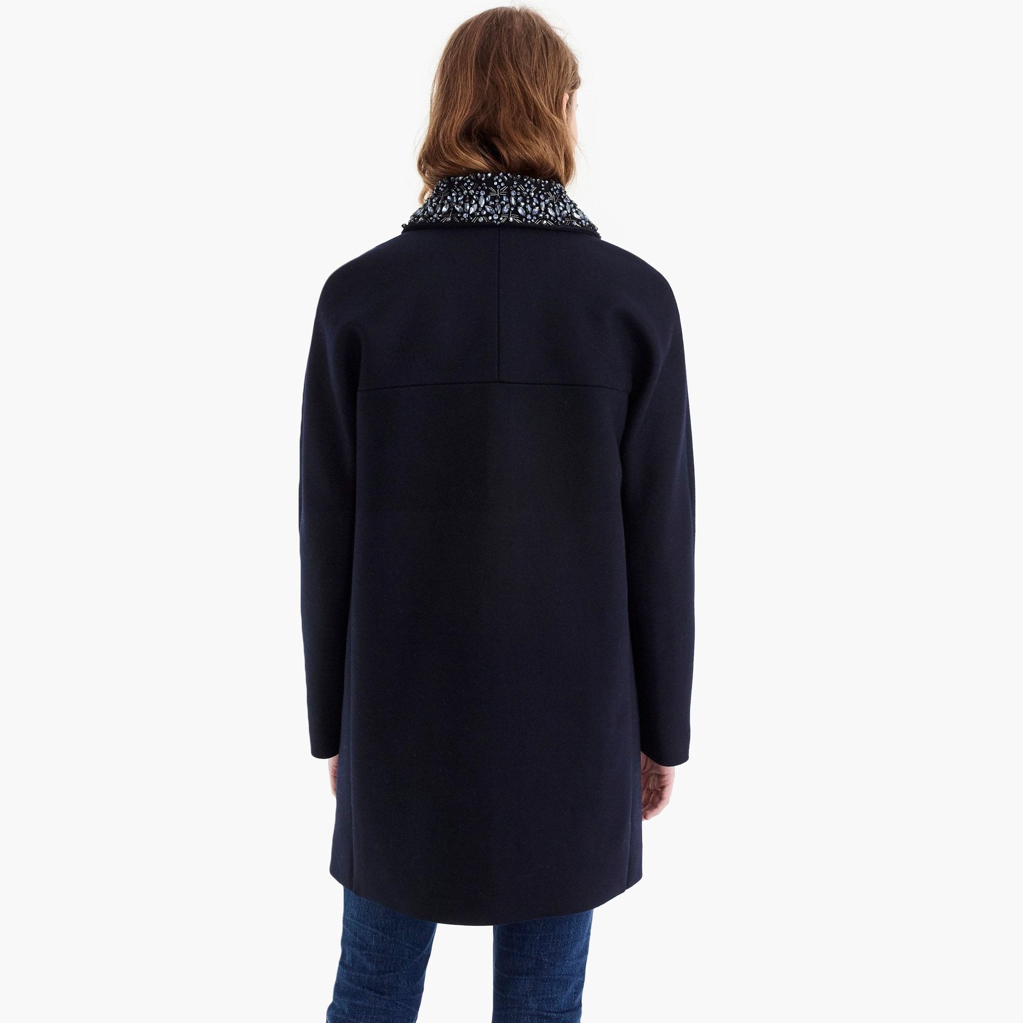 Image 5 for Collection wool melton coat with embellished collar
