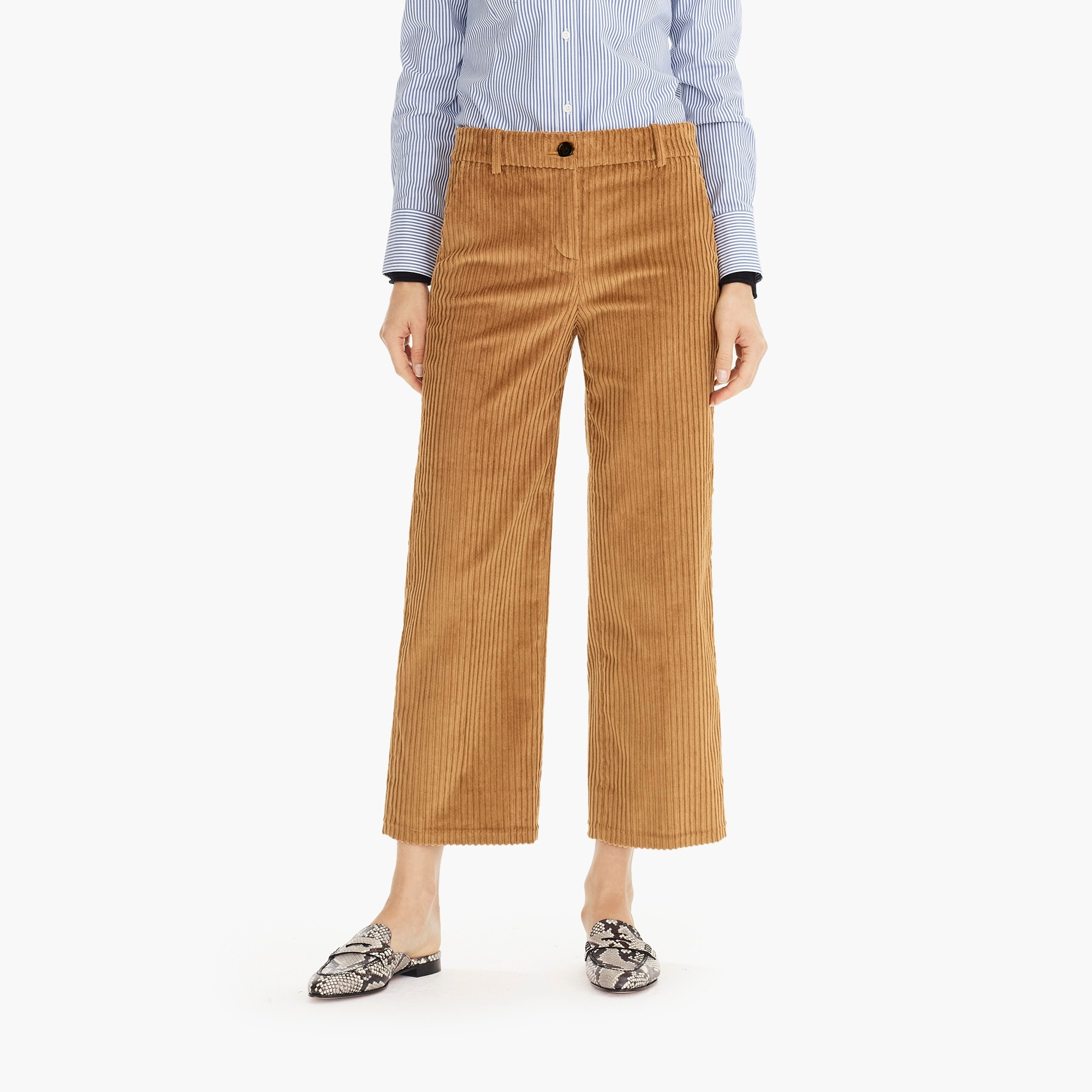 Image 3 for Wide-leg cropped pant in corduroy