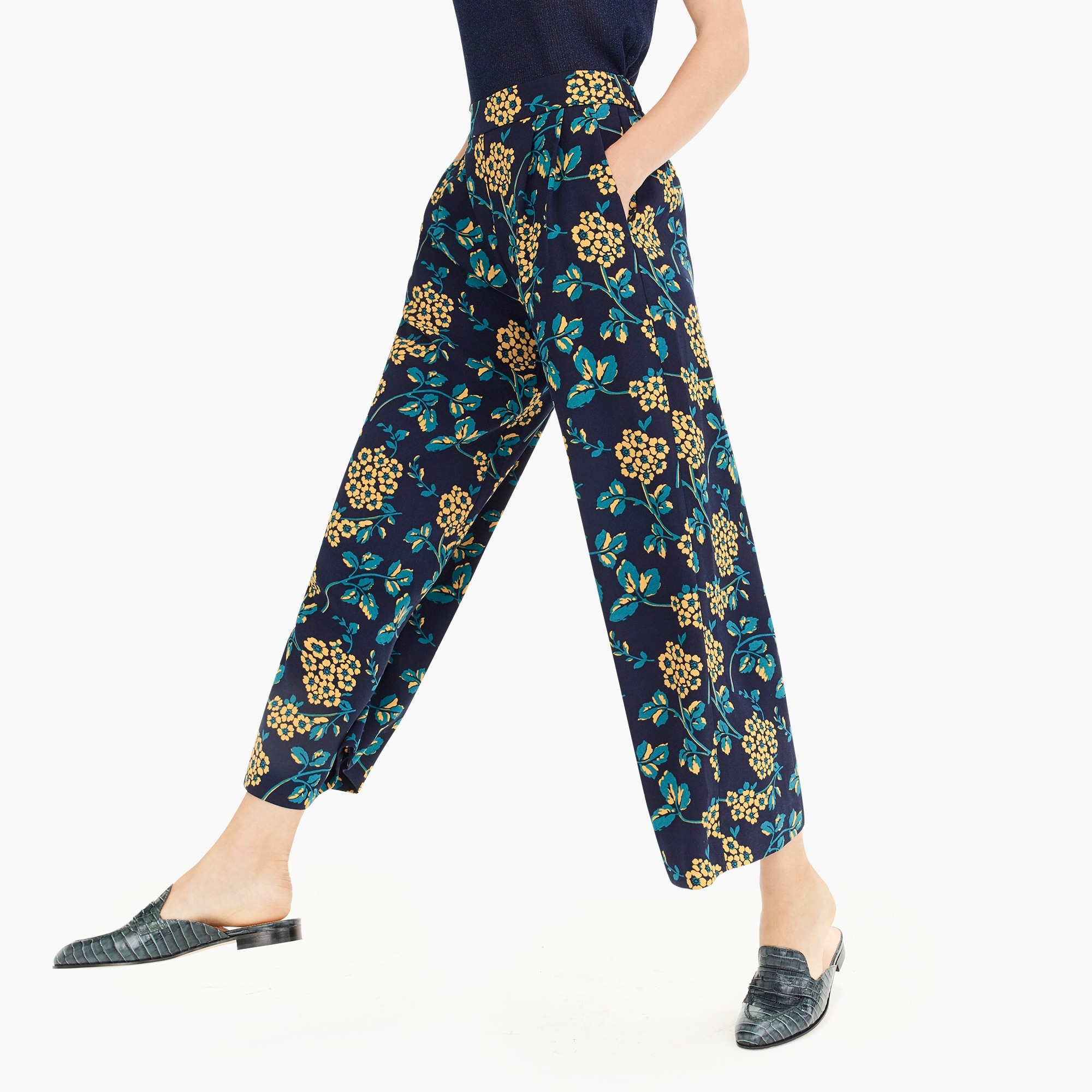 womens Tall wide-leg cropped floral pant