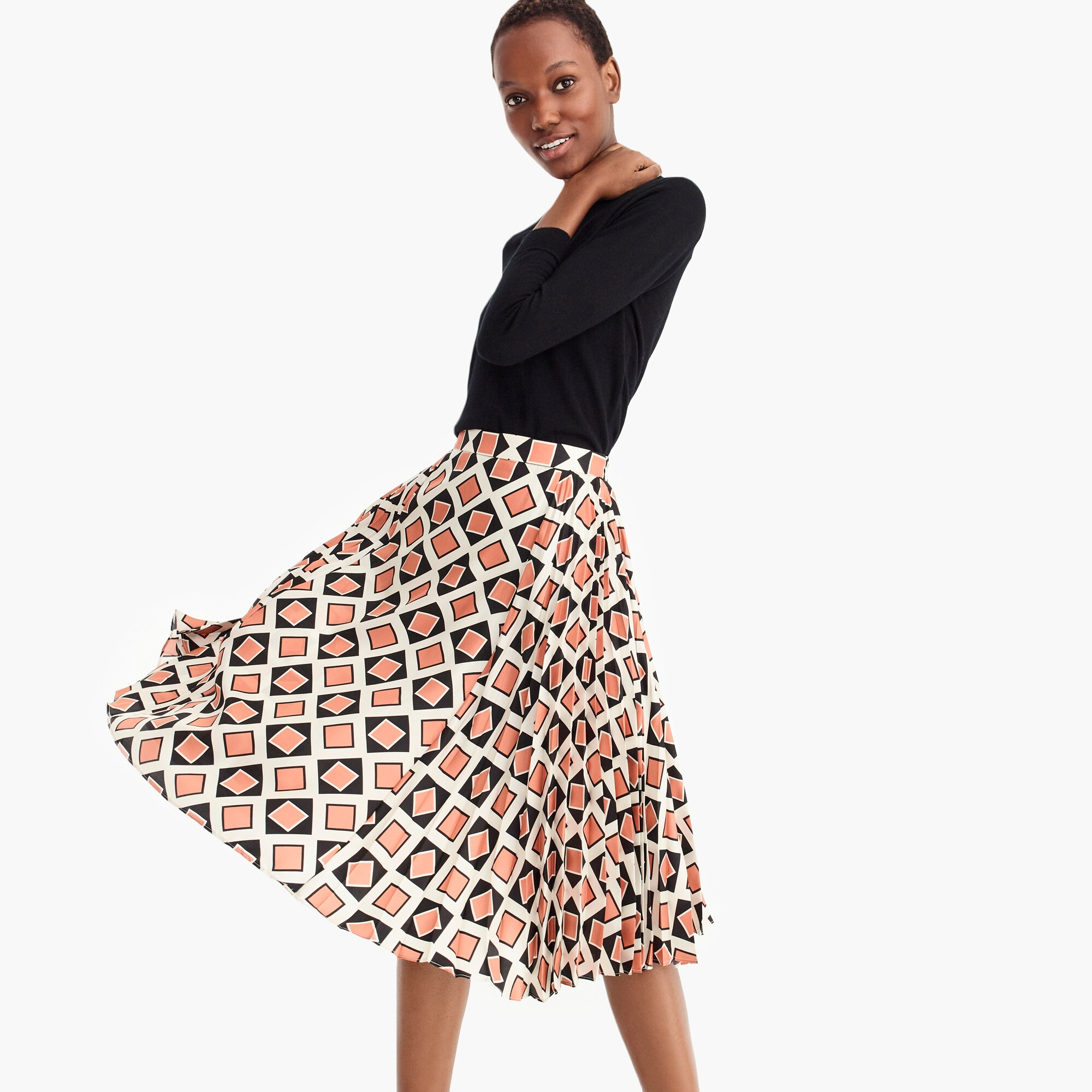 Collection silk accordion pleated skirt in Ratti® tile print