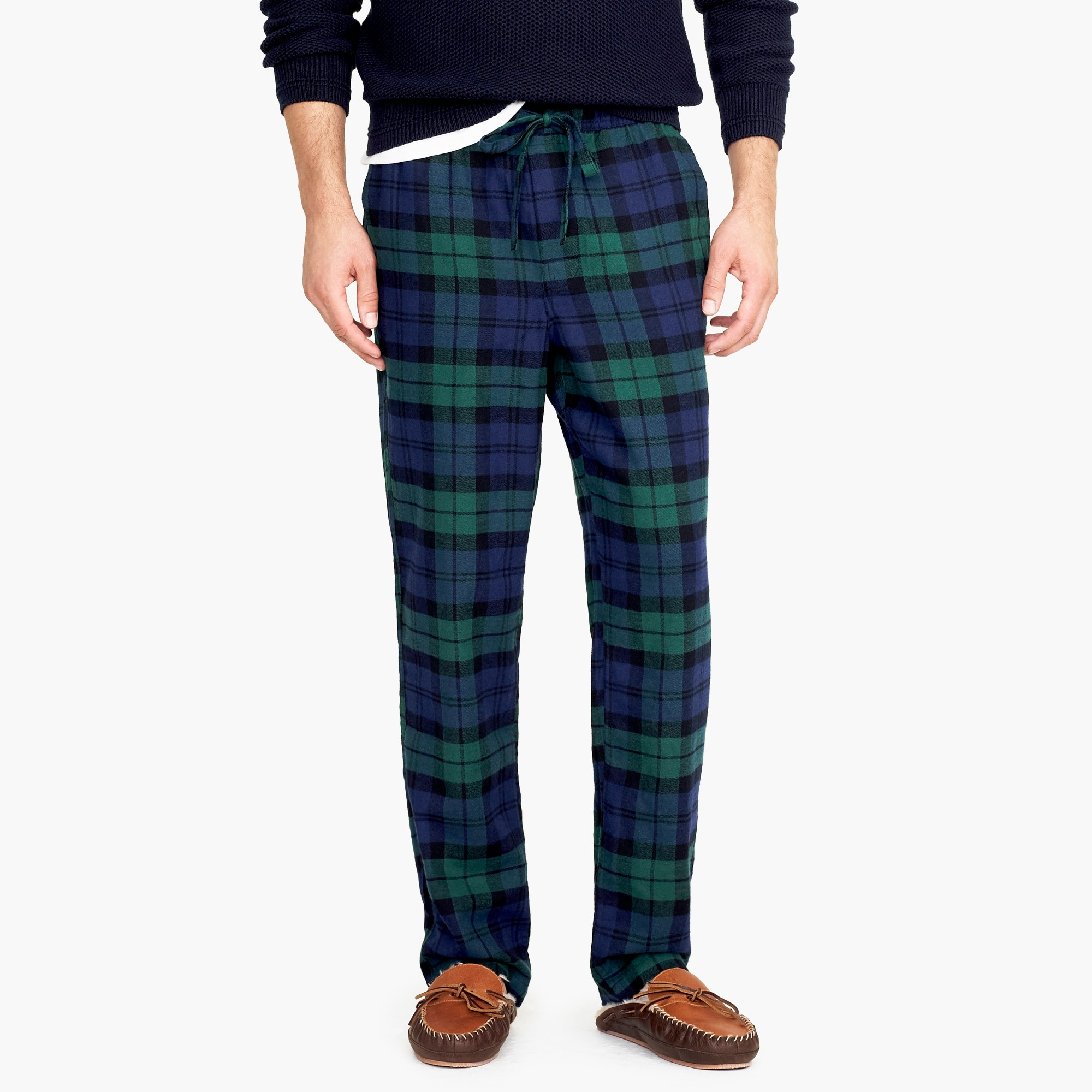 mens Flannel pajama pant in black watch plaid
