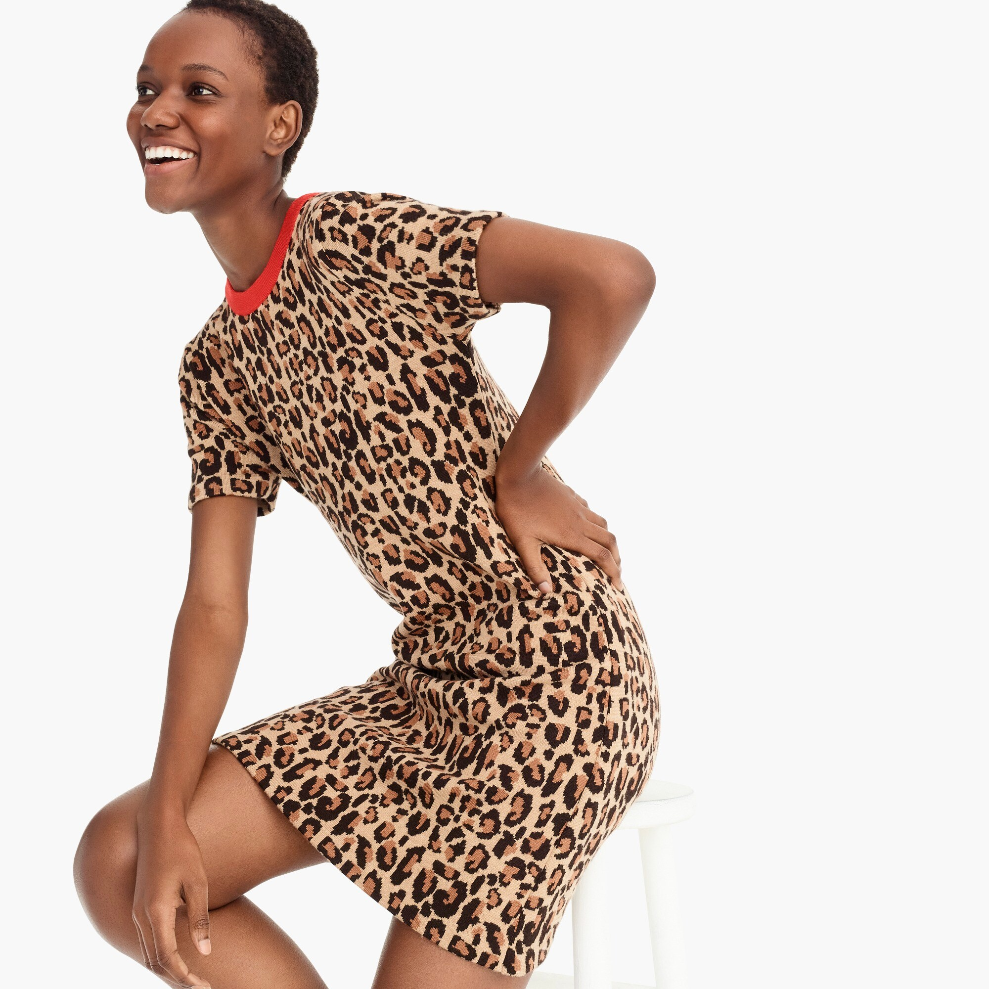 womens Demylee™ X J.Crew leopard-print sweater-dress