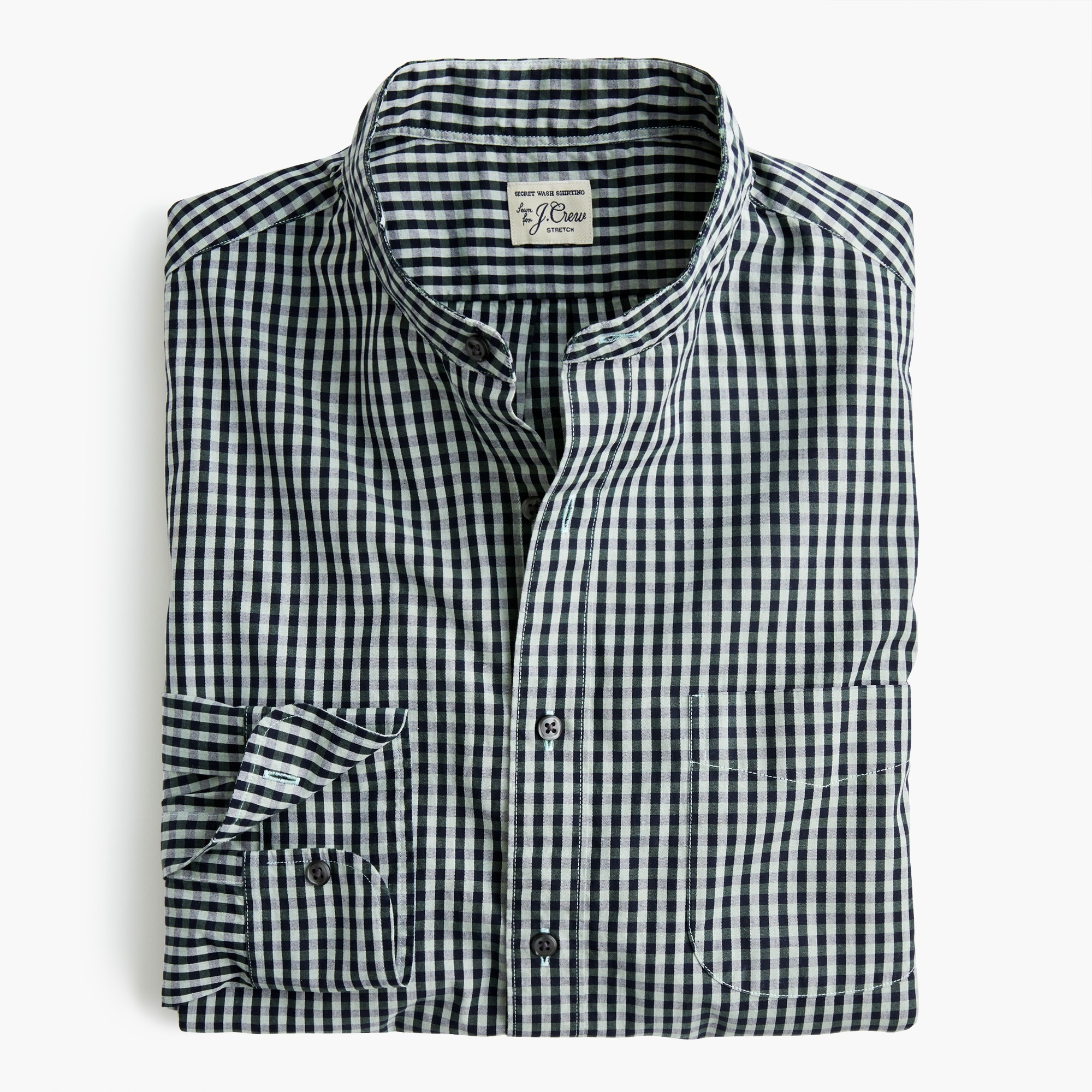 mens Slim stretch Secret Wash band-collar shirt in brown-and-navy gingham