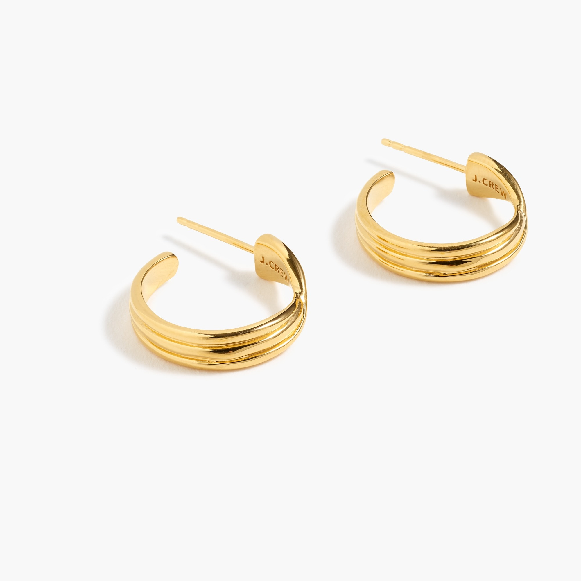 women's demi-fine 14k gold-plated twisted hoop earrings - women's jewelry