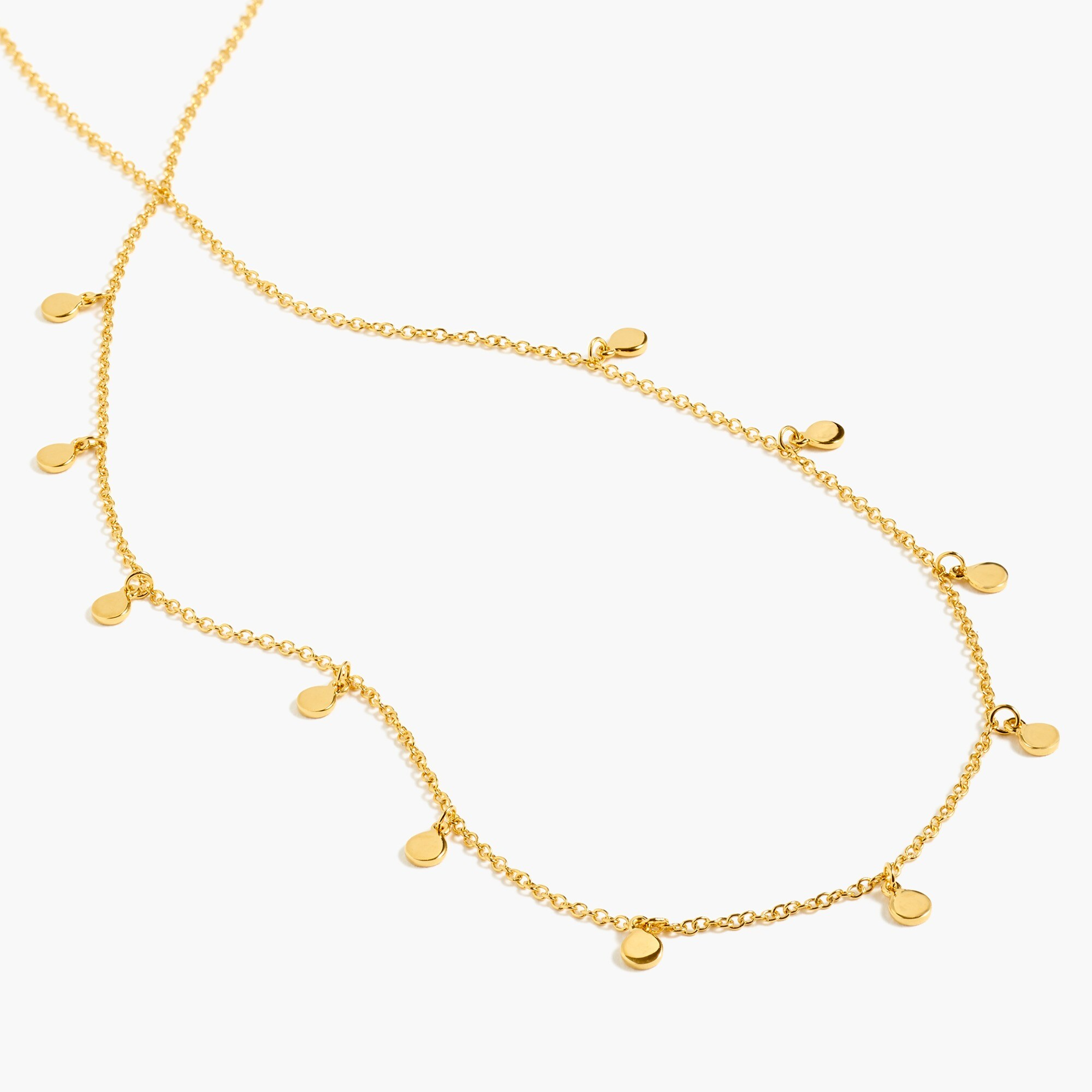 womens Demi-fine 14k gold-plated long necklace with dot charms