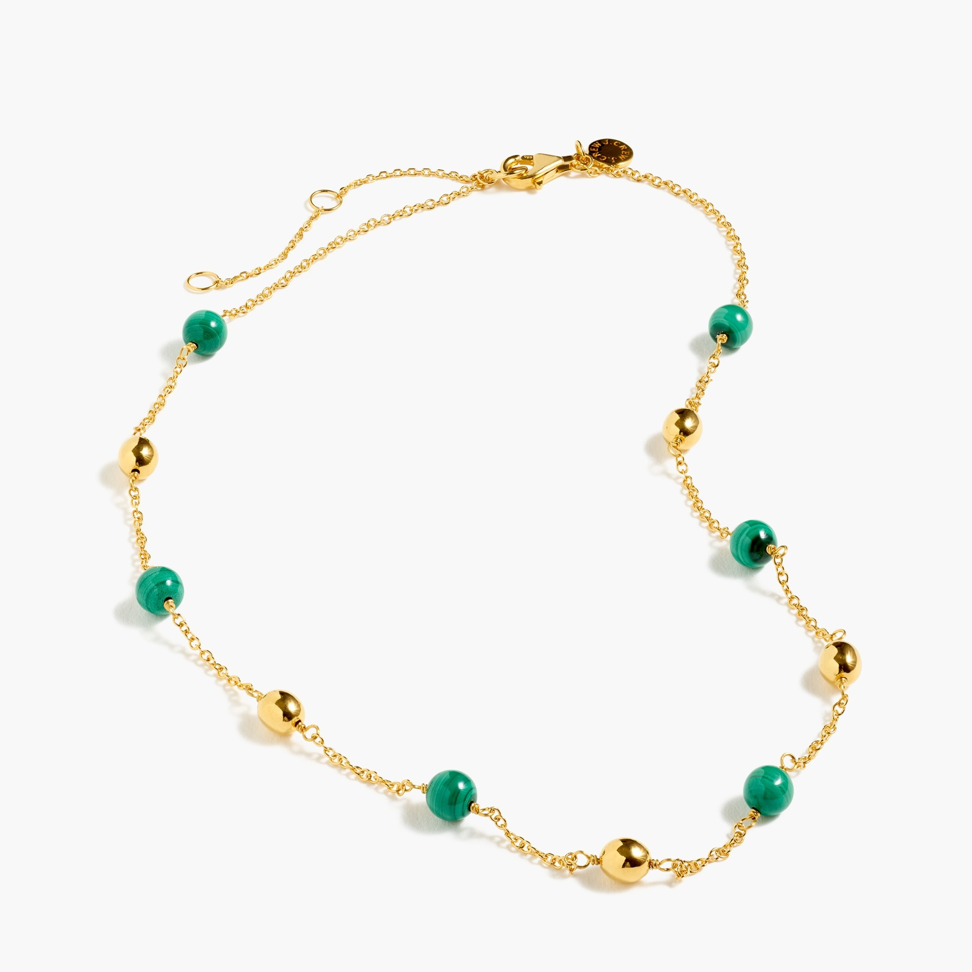 womens Demi-fine 14k gold-plated malachite beaded necklace