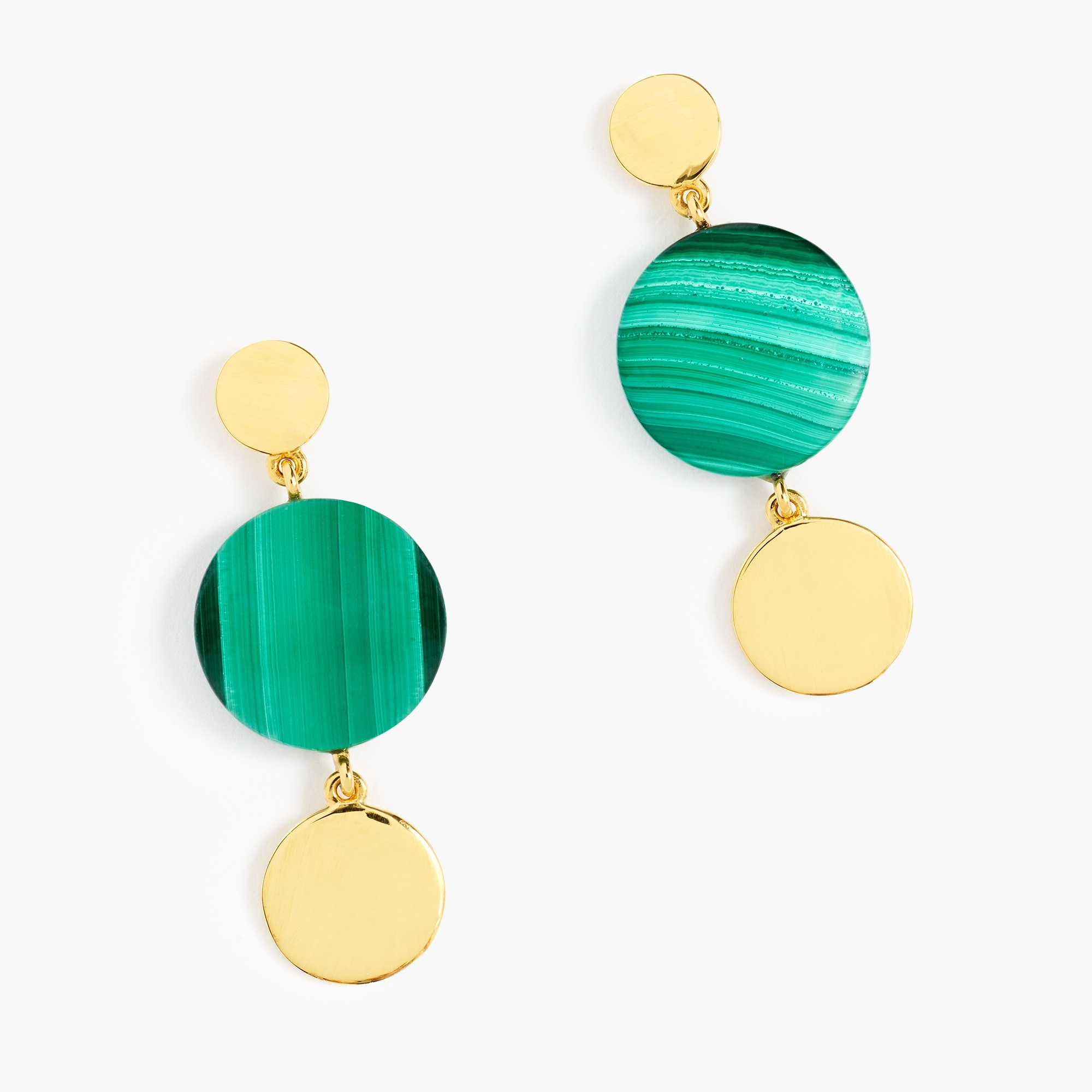 womens Demi-fine 14k gold-plated malachite earrings