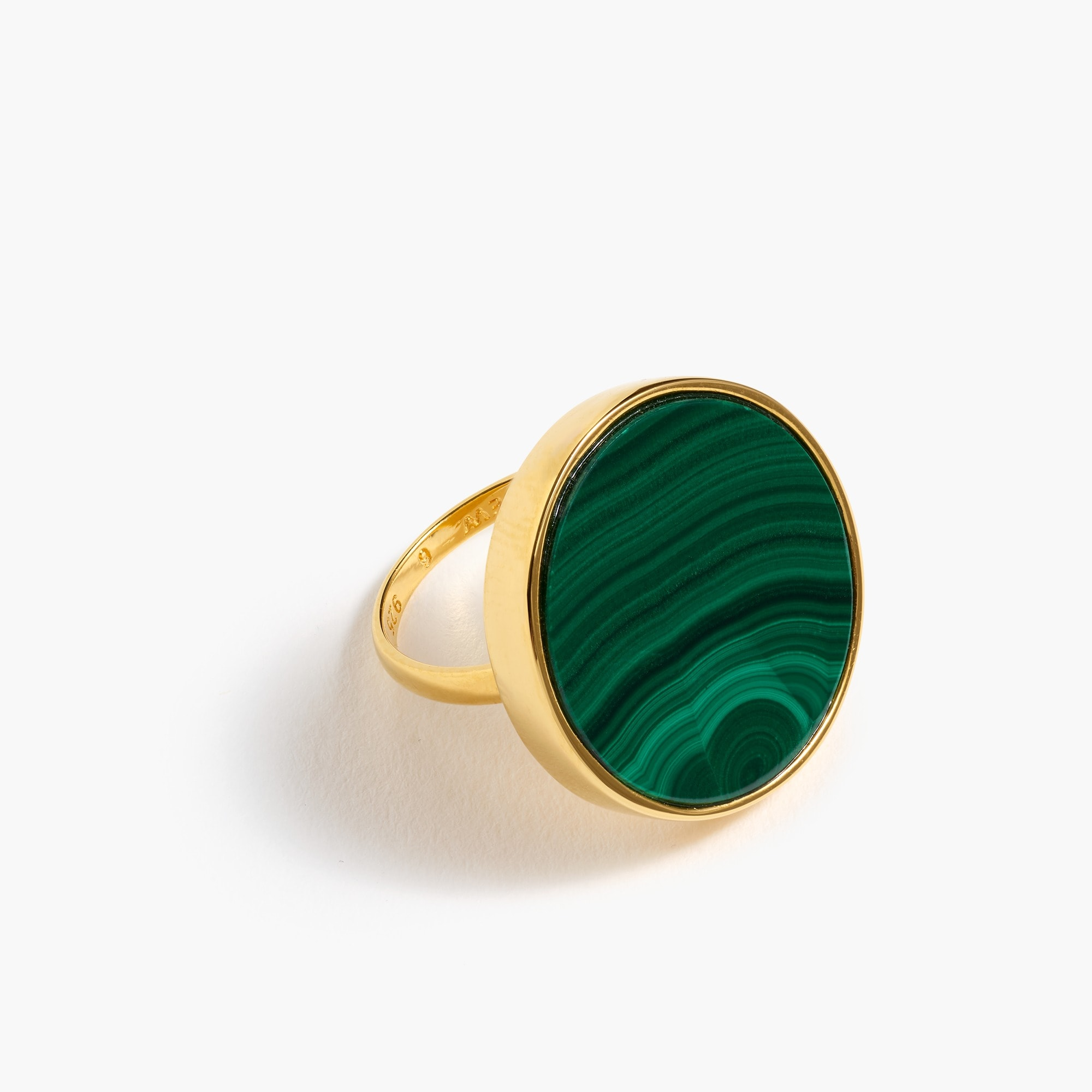 Demi-fine 14K gold-plated malachite ring women new arrivals c