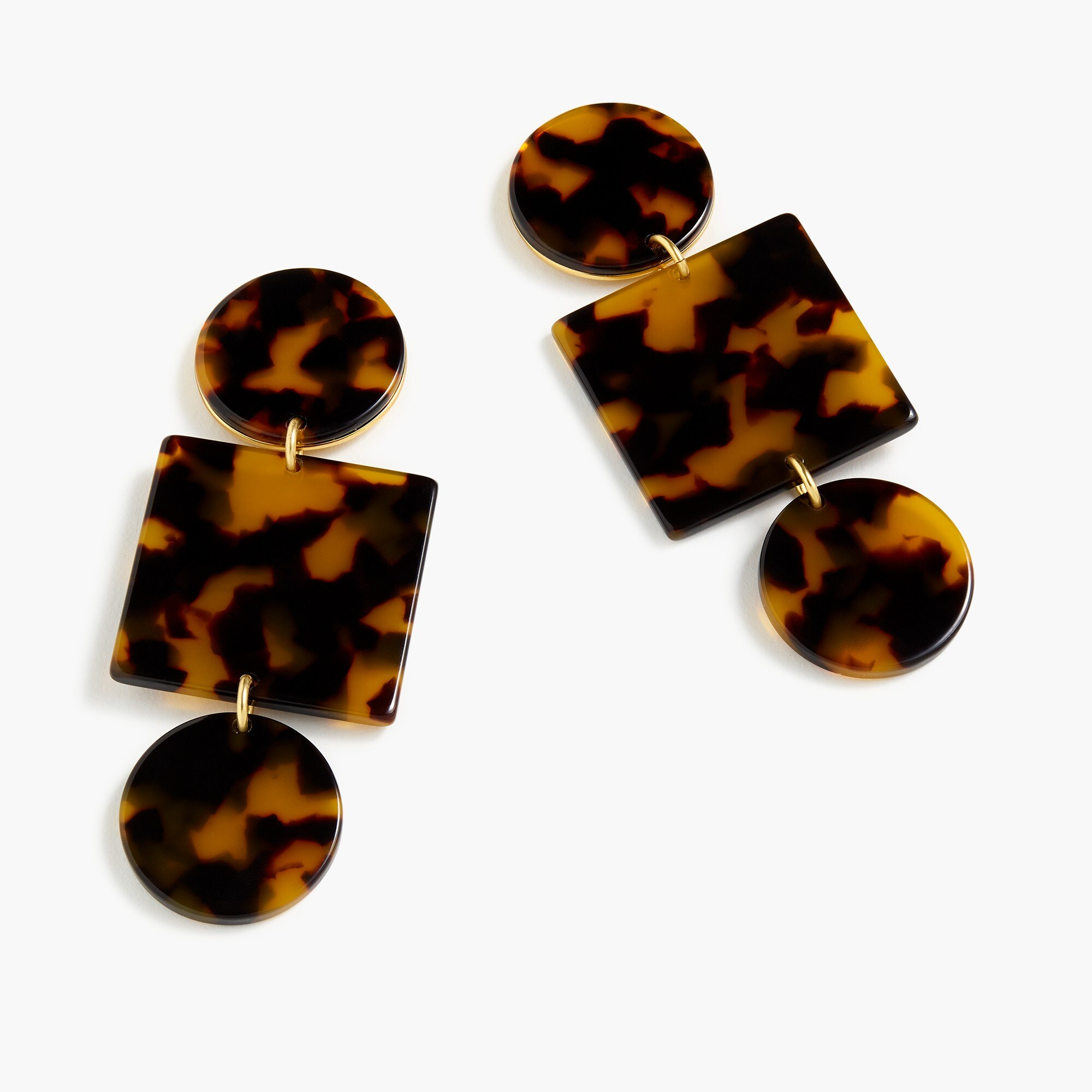 womens Geometric tortoise clip-on earrings