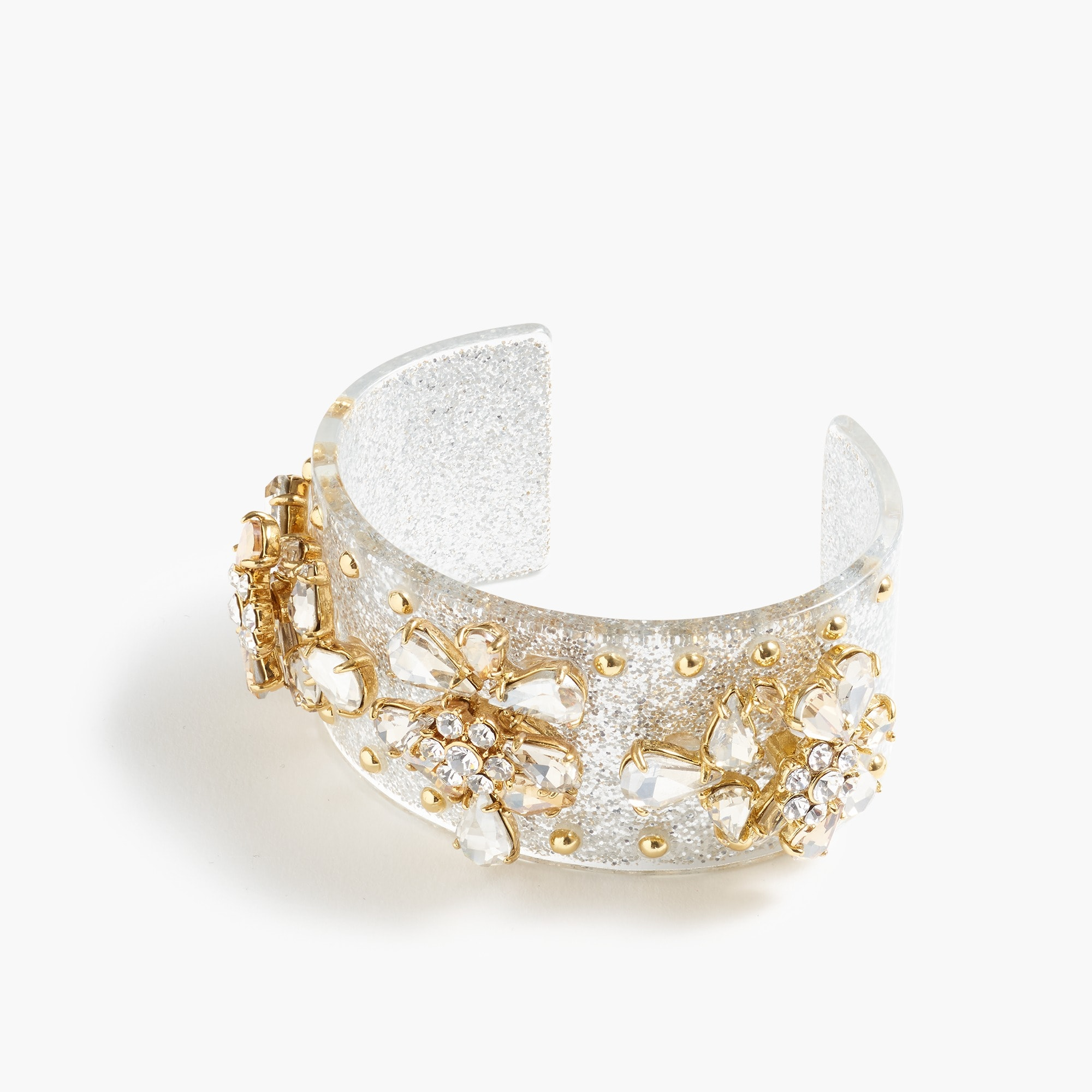 womens Crystal-studded lucite cuff