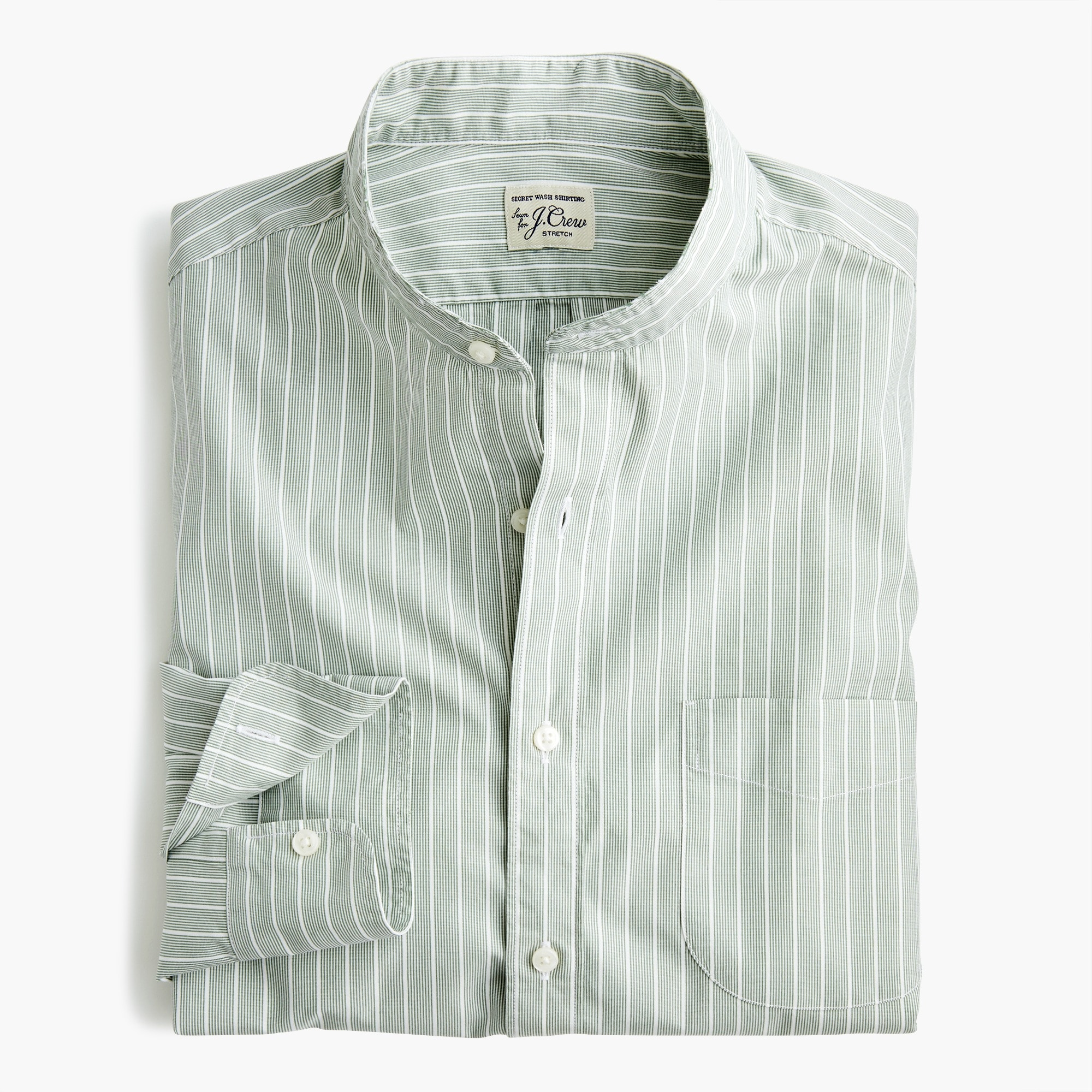 mens Slim stretch Secret Wash band-collar shirt in fall stripe