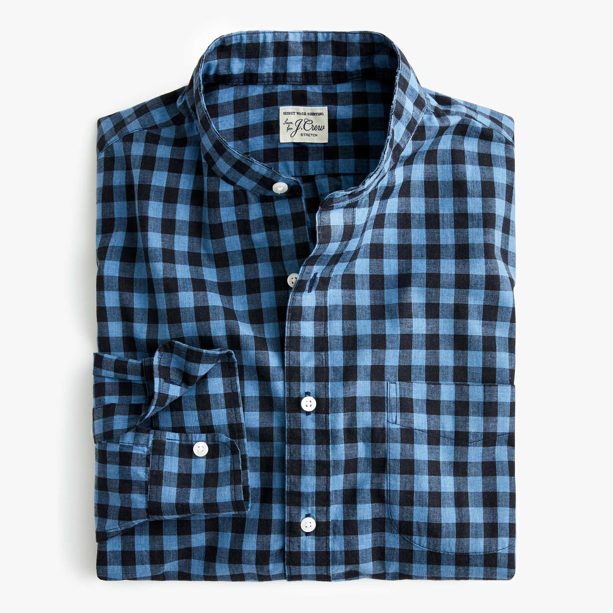 Slim stretch Secret Wash band-collar shirt in brown gingham