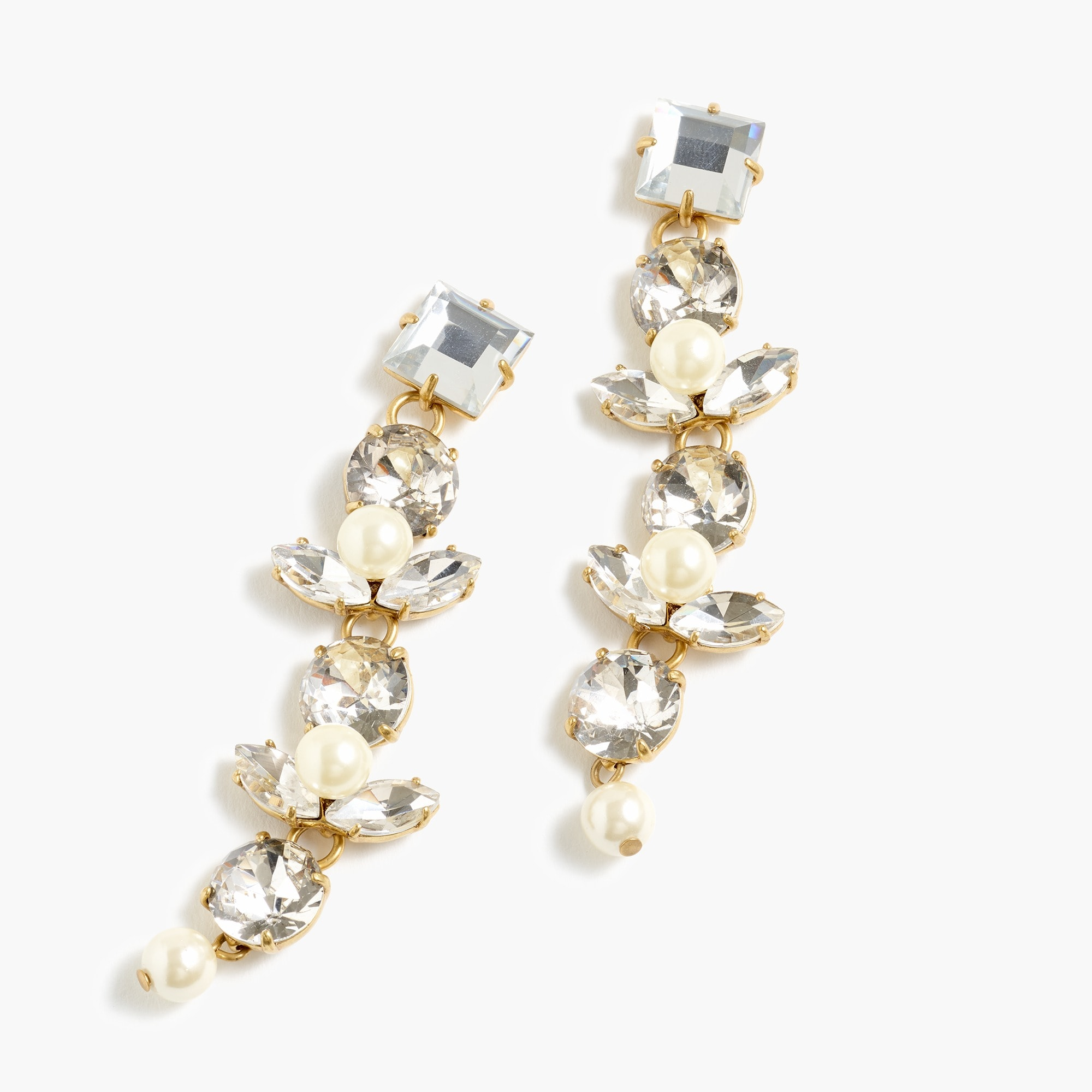 womens Crystal and pearl drop earrings.