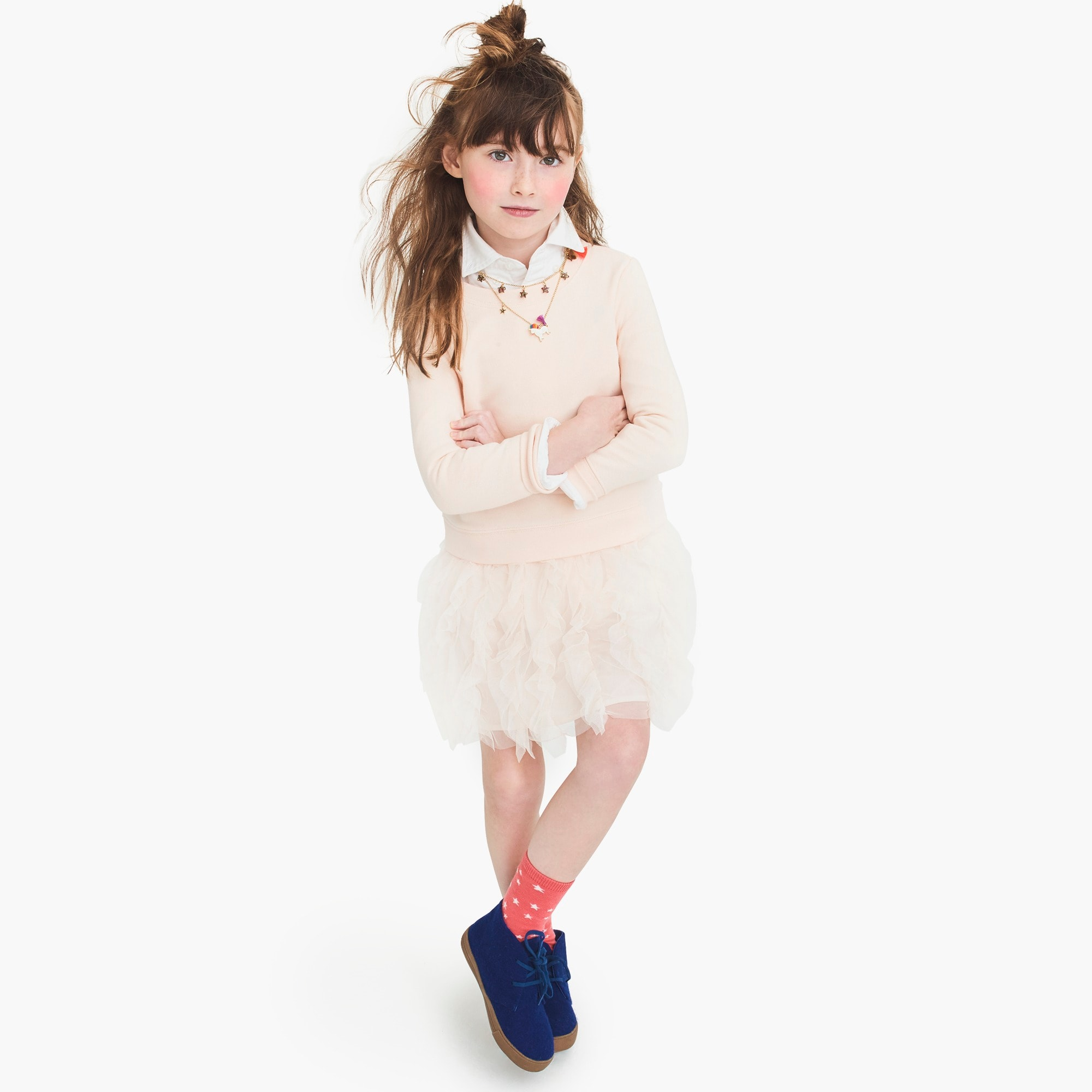 girls Girls' tulle-skirt sweatshirt dress