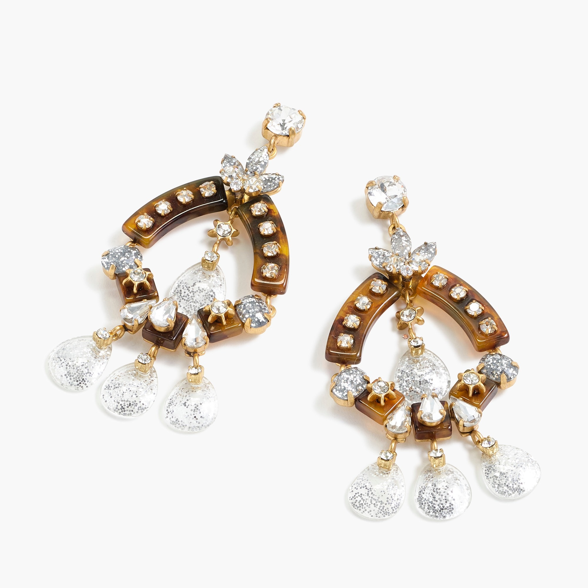 womens Crystal and tortoise earrings