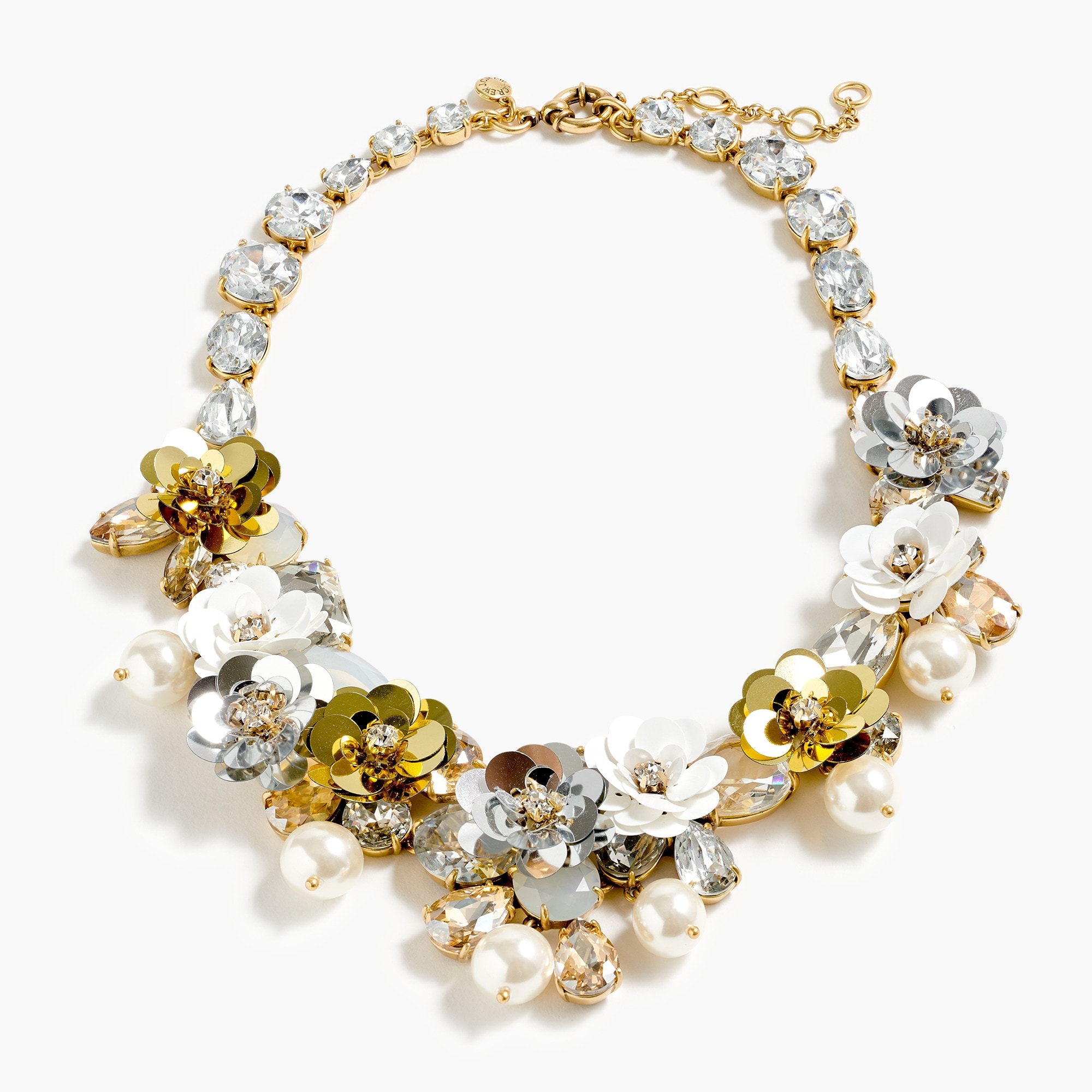 womens Crystal and sequin wreath necklace